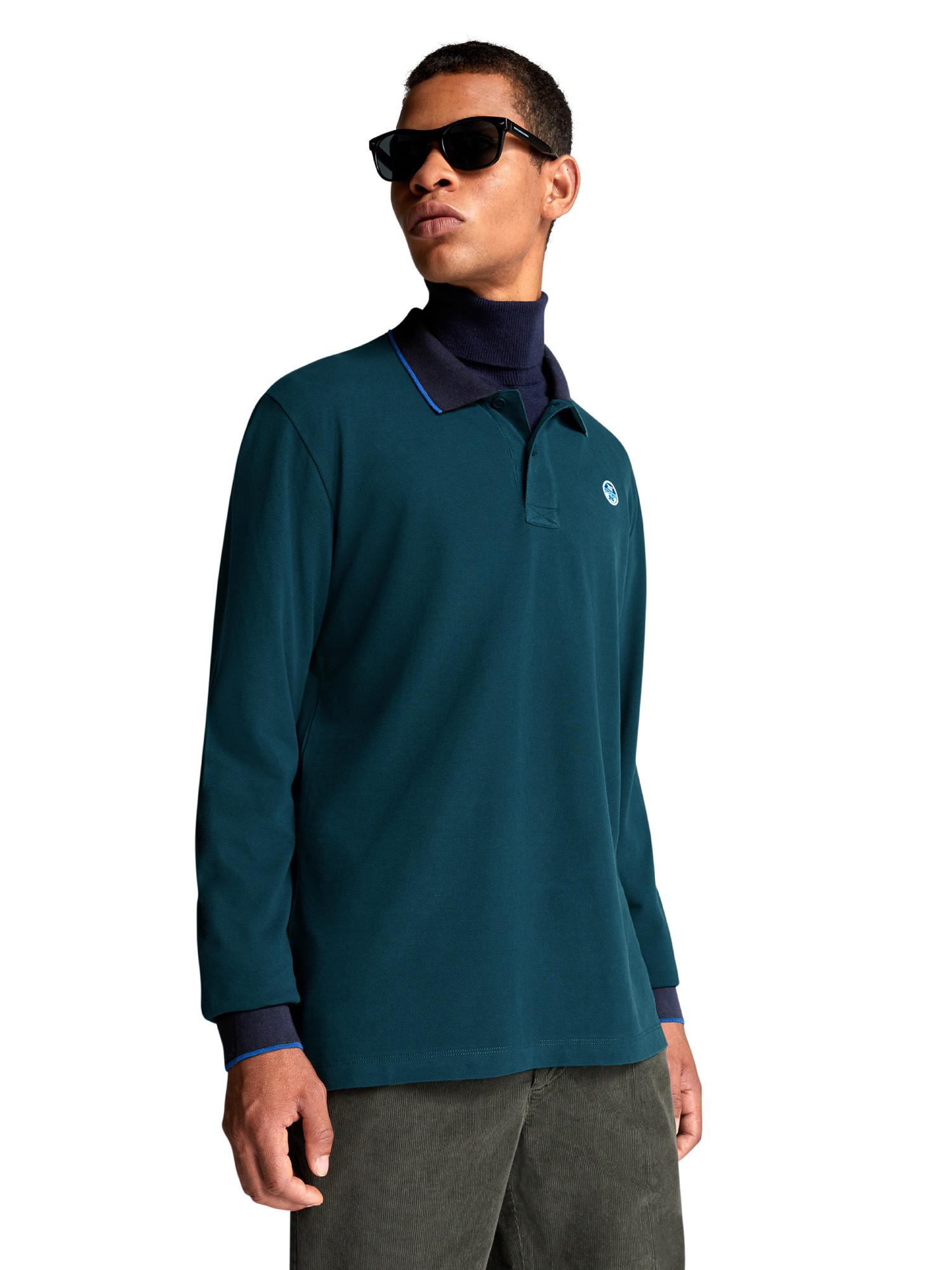 Polo con bordi a contrasto, Verde, large image number 4