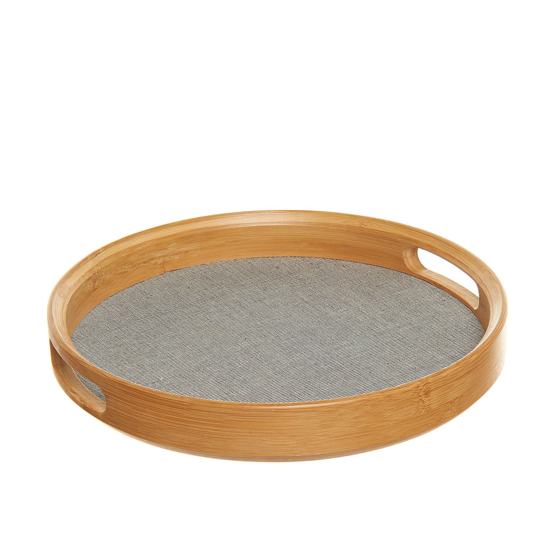 Vassoio rotondo in bamboo e cotone, Grigio, large image number 0