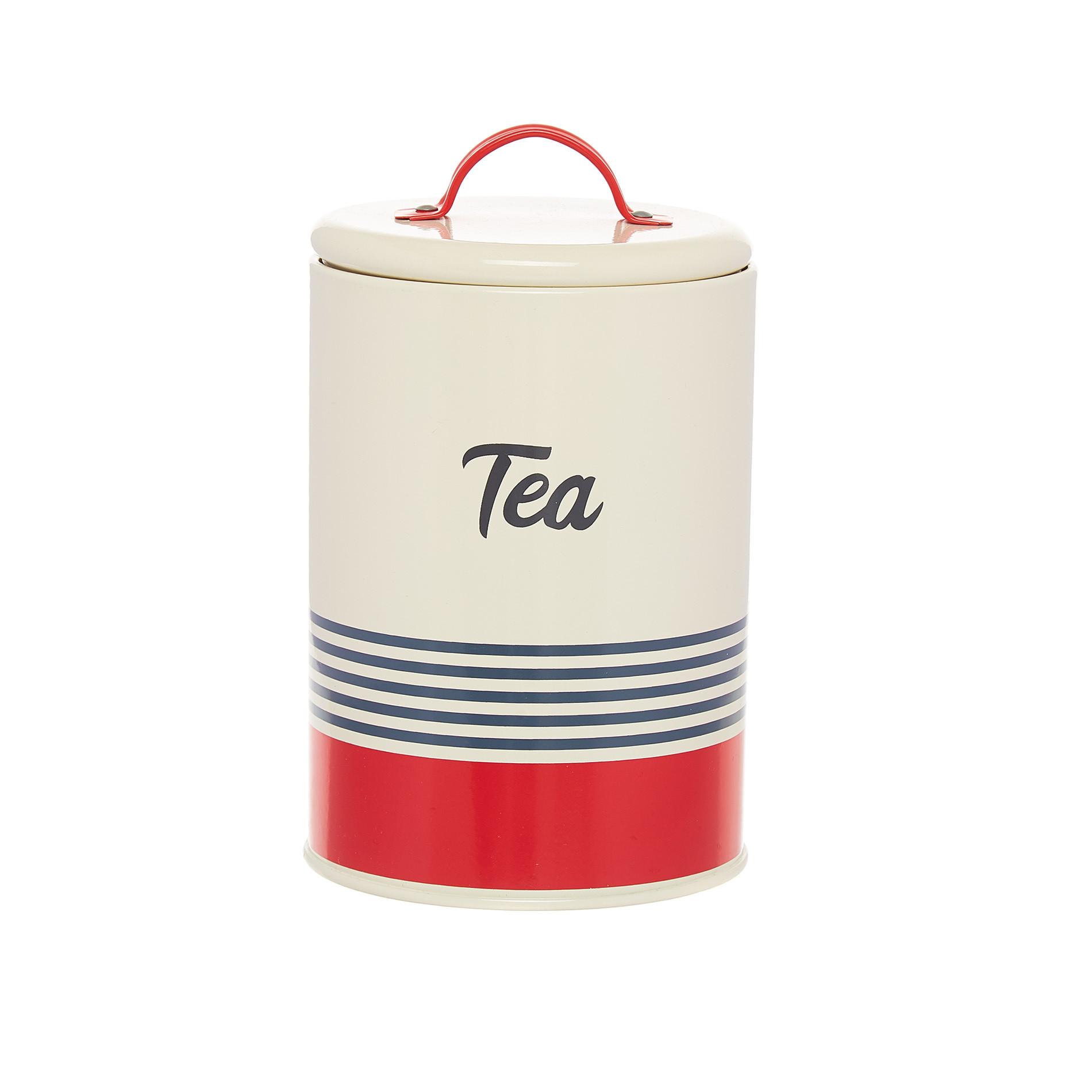 Barattolo ferro smaltato Tea, Bianco/Rosso, large image number 0