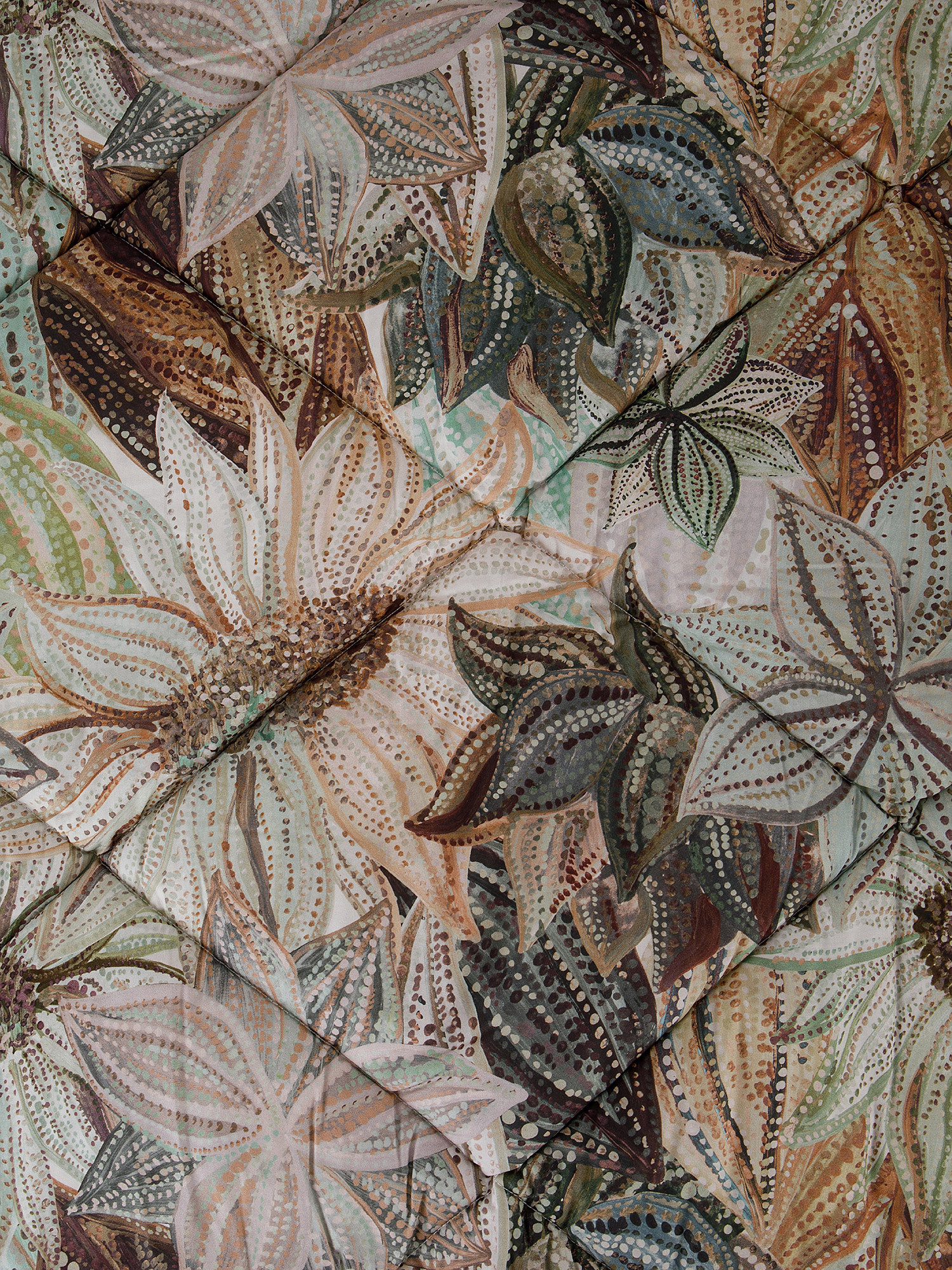Trapunta percalle di cotone fantasia ninfea, Verde, large image number 1