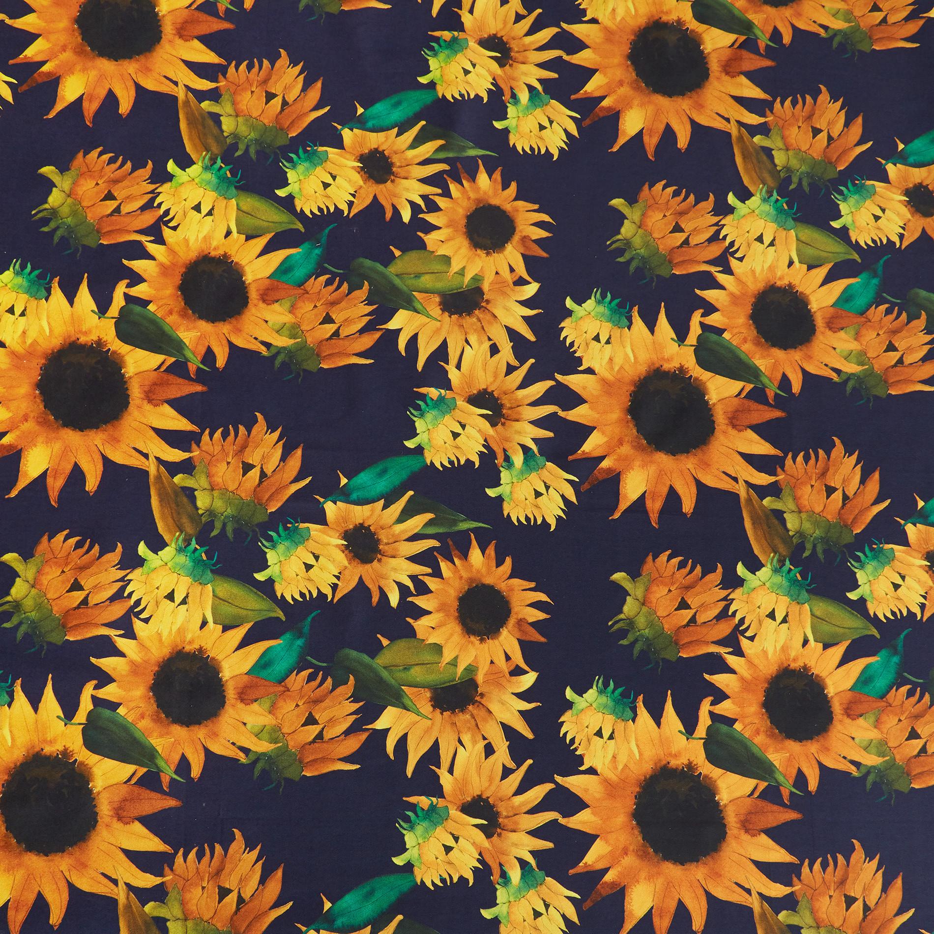 Tovaglia twill di cotone idrorepellente stampa girasoli, Blu scuro, large image number 1