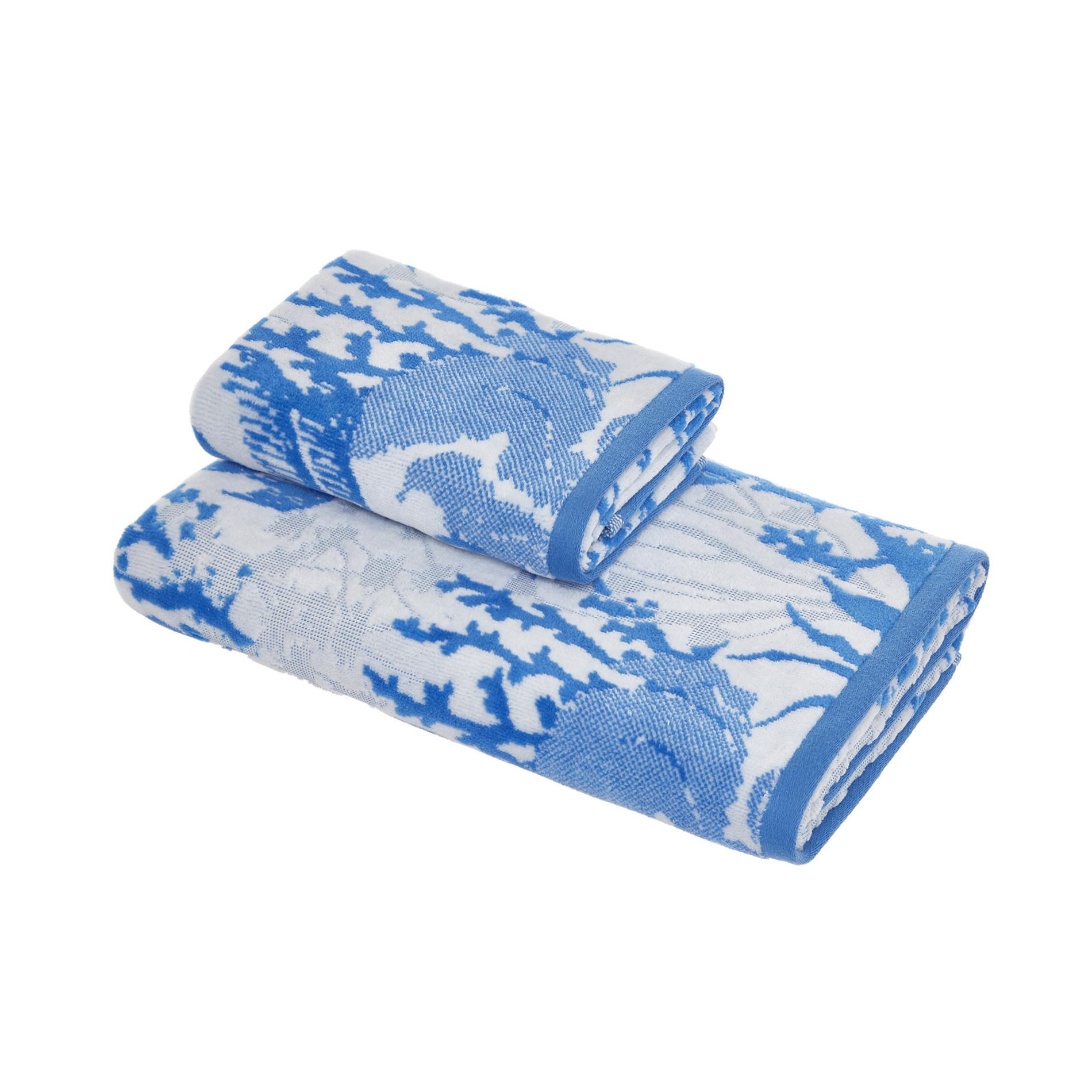 Asciugamano cotone velour motivo coralli, Blu, large image number 0