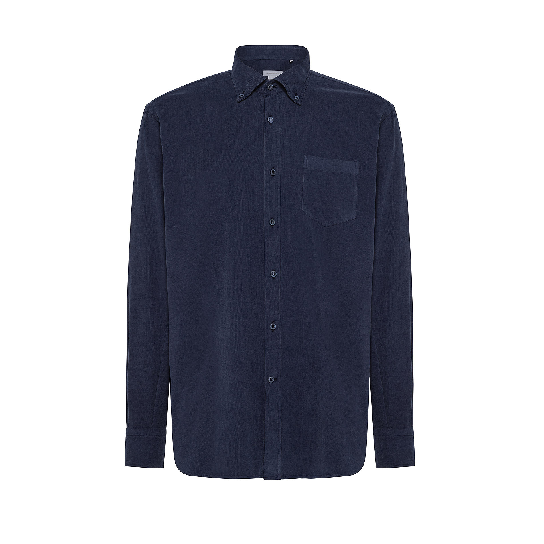 Camicia button-down regular fit in velluto, Blu, large image number 0