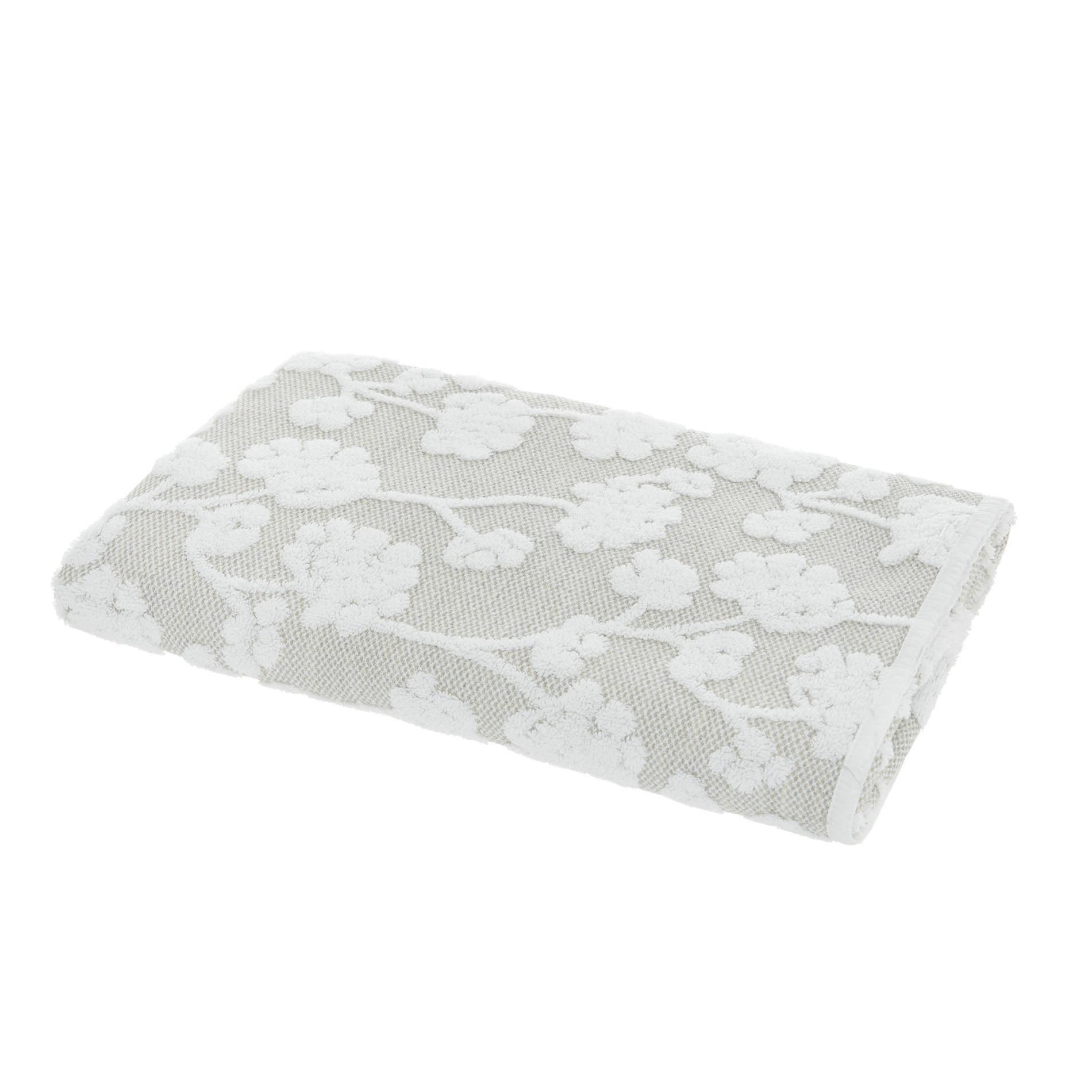 Asciugamano puro cotone a fiori Thermae, Beige chiaro, large image number 1