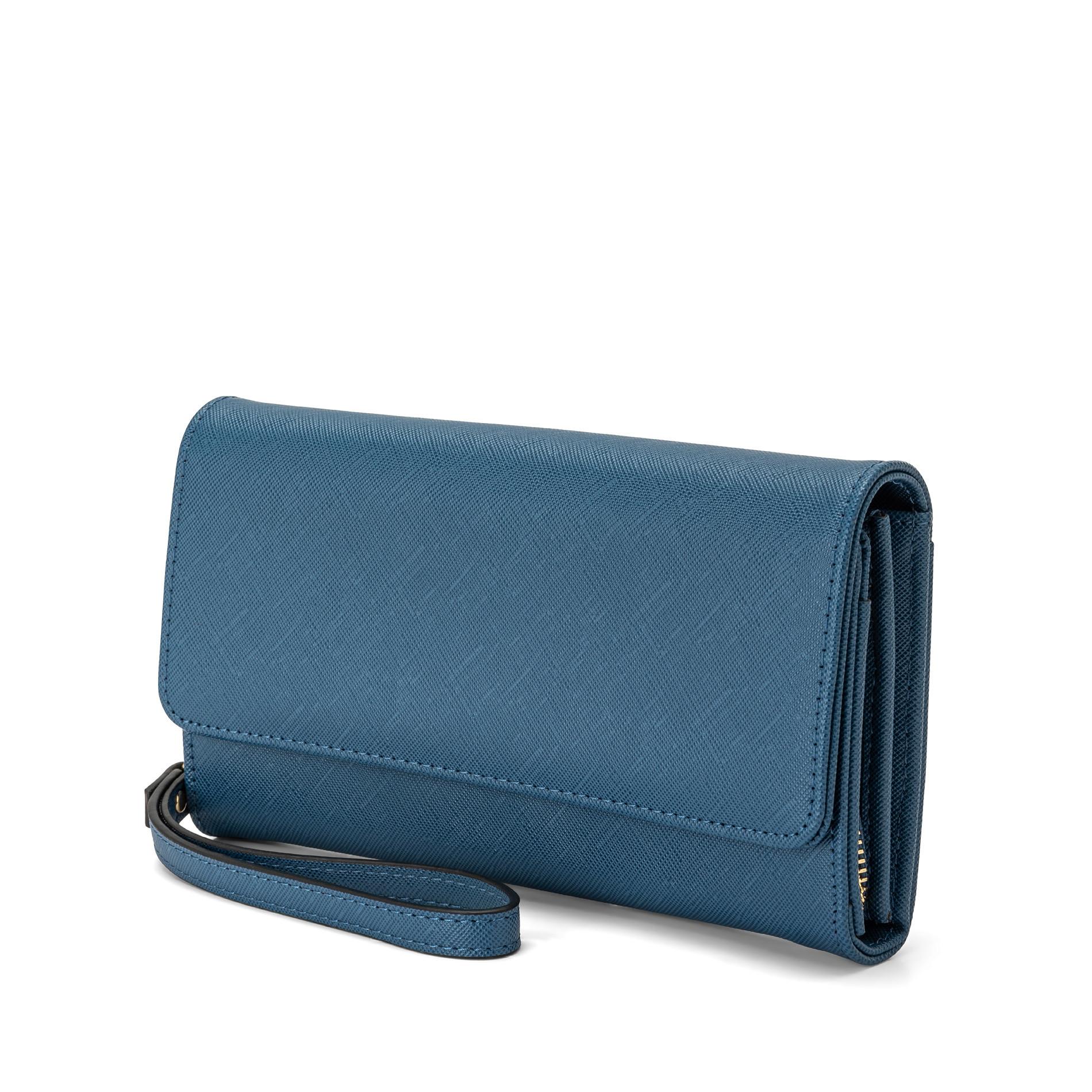 Portafoglio effetto saffiano Koan, Azzurro, large image number 1