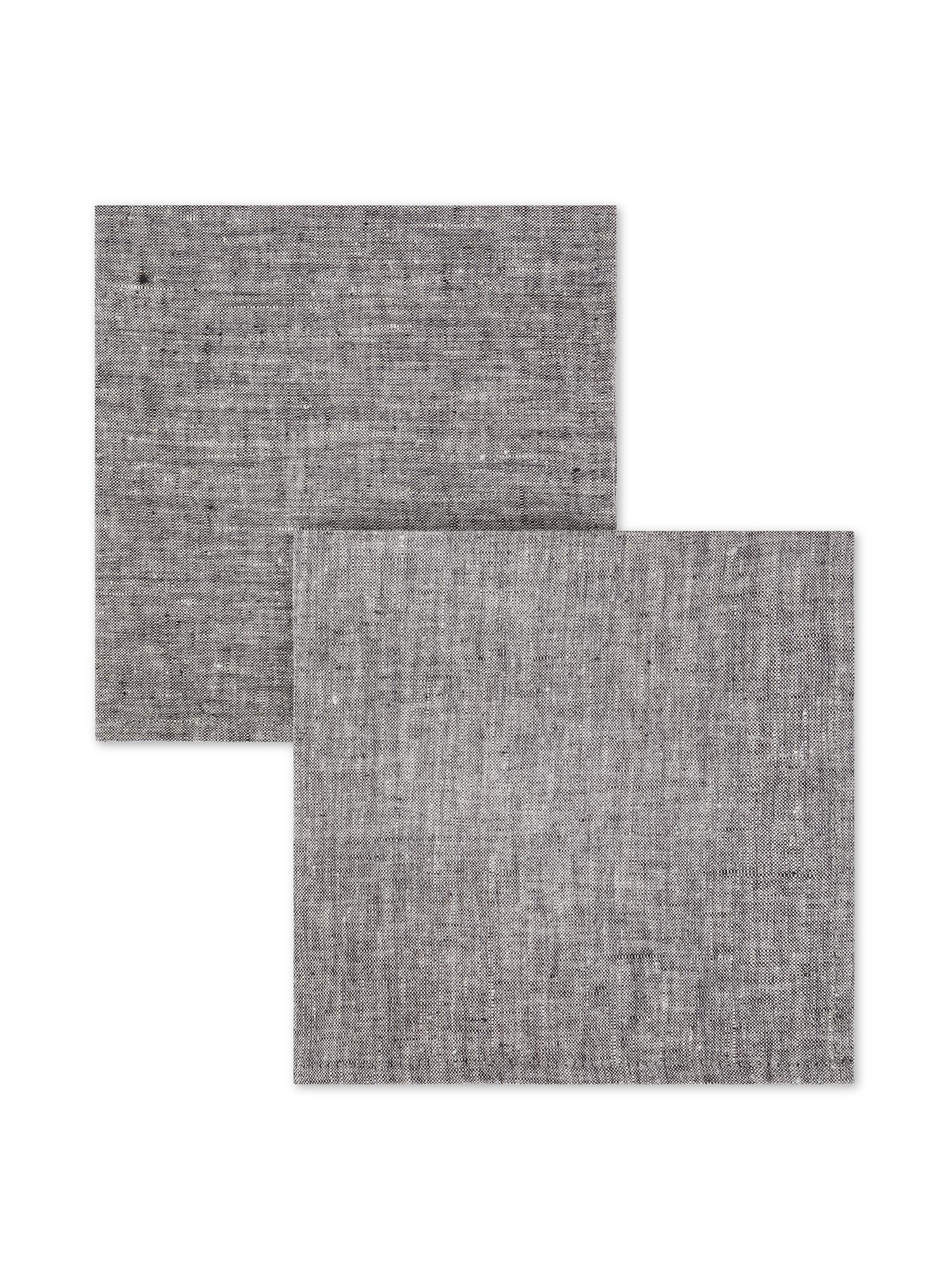 Set 2 tovaglioli lino lavato tinta unita, Grigio, large image number 0