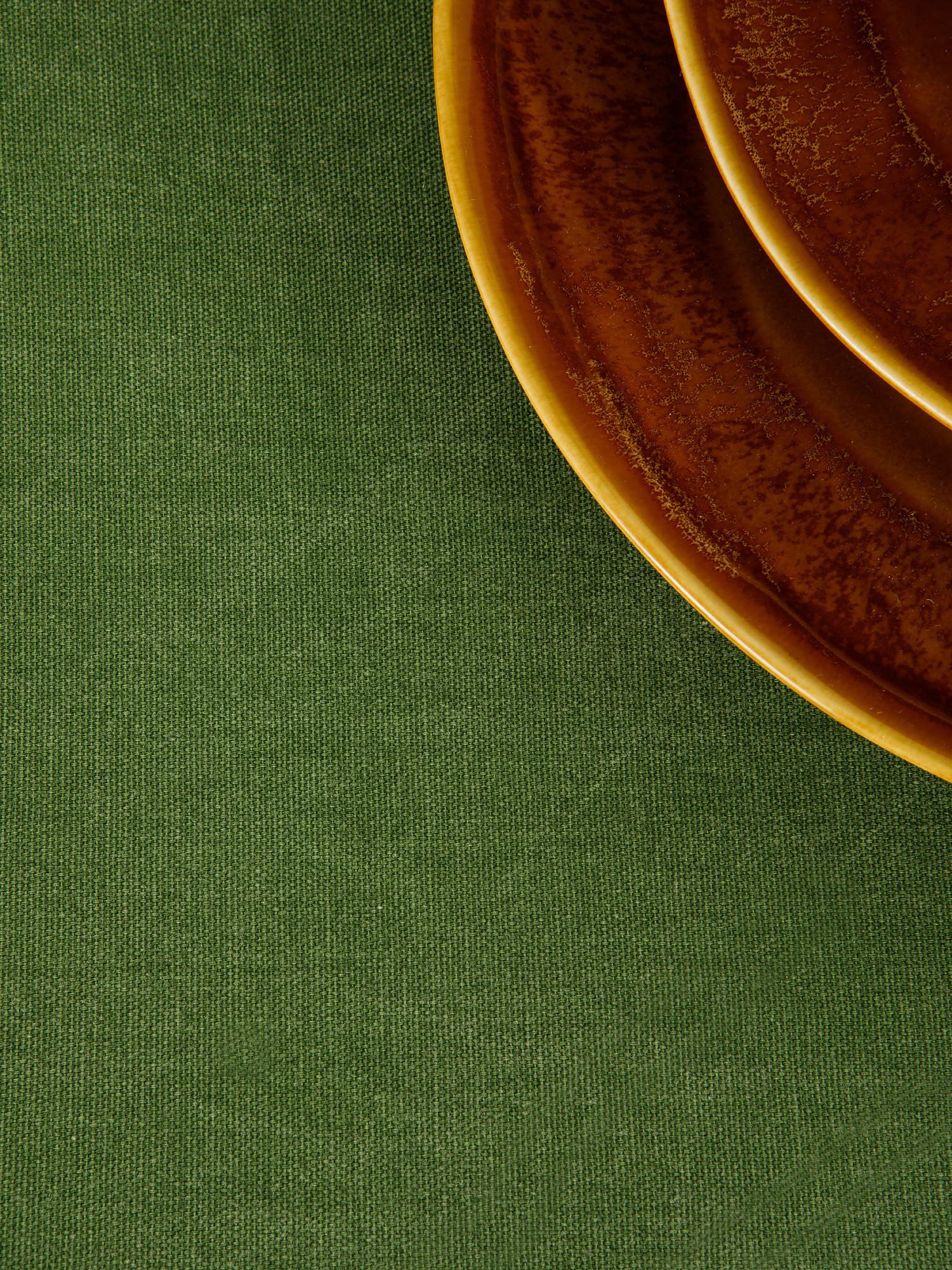 Tovaglia puro cotone garment washed tinta unita, Verde, large image number 2