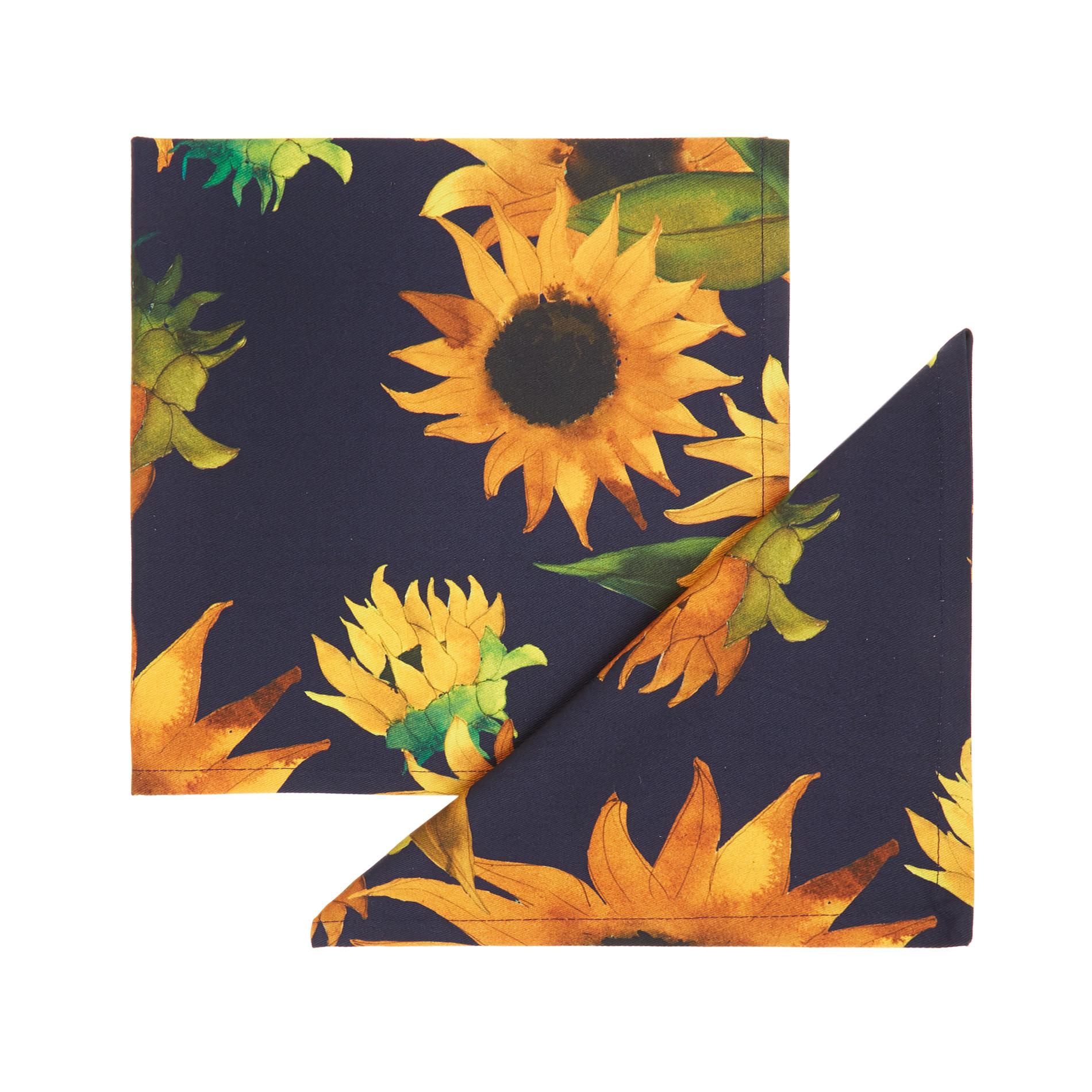 Set 2 tovaglioli puro cotone stampa girasoli, Blu scuro, large image number 0