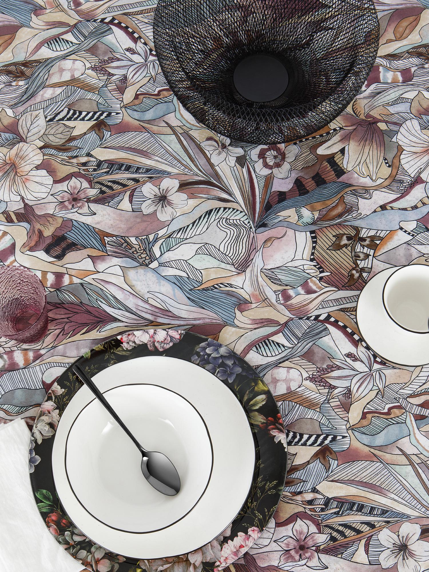 Tovaglia puro cotone stampa batik, Grigio, large image number 0