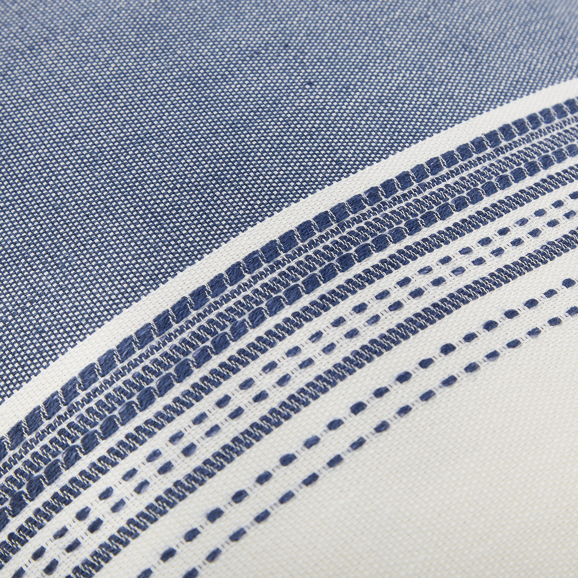 Cuscino misto lino a righe 35x55cm, Blu, large image number 2