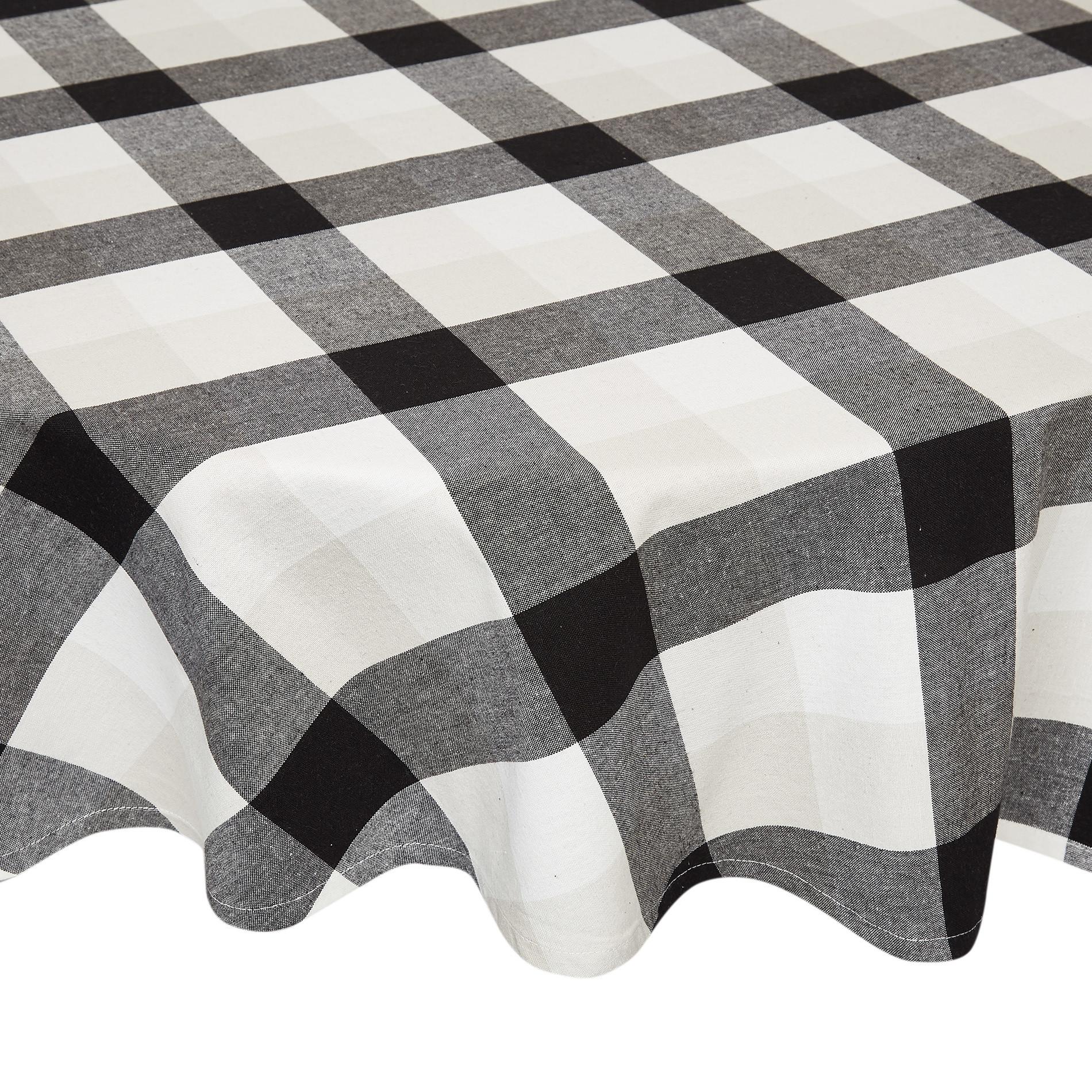 Tovaglia rotonda puro cotone motivo a quadri, Bianco/Nero, large image number 0
