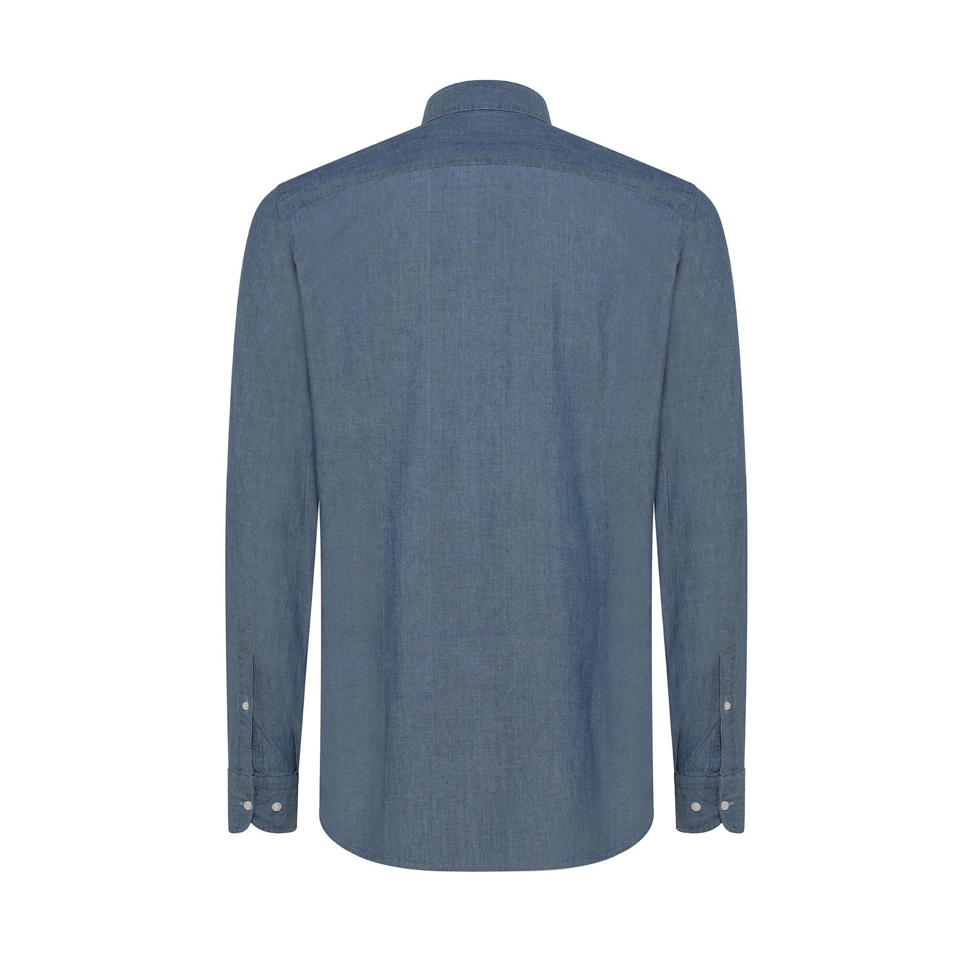 Camicia puro cotone slim fit Luca D'Altieri, Denim, large image number 1