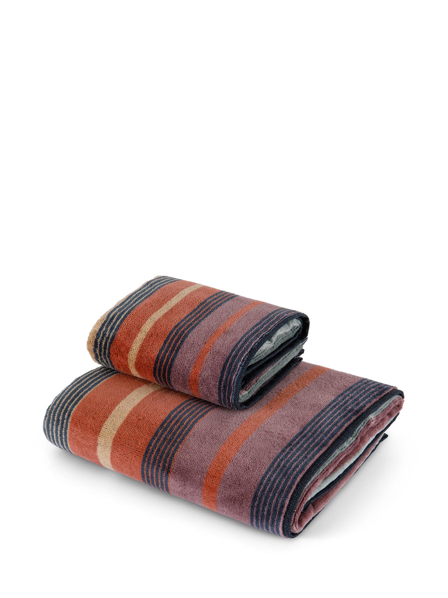 Asciugamano cotone velour motivo righe larghe, Multicolor, large image number 0