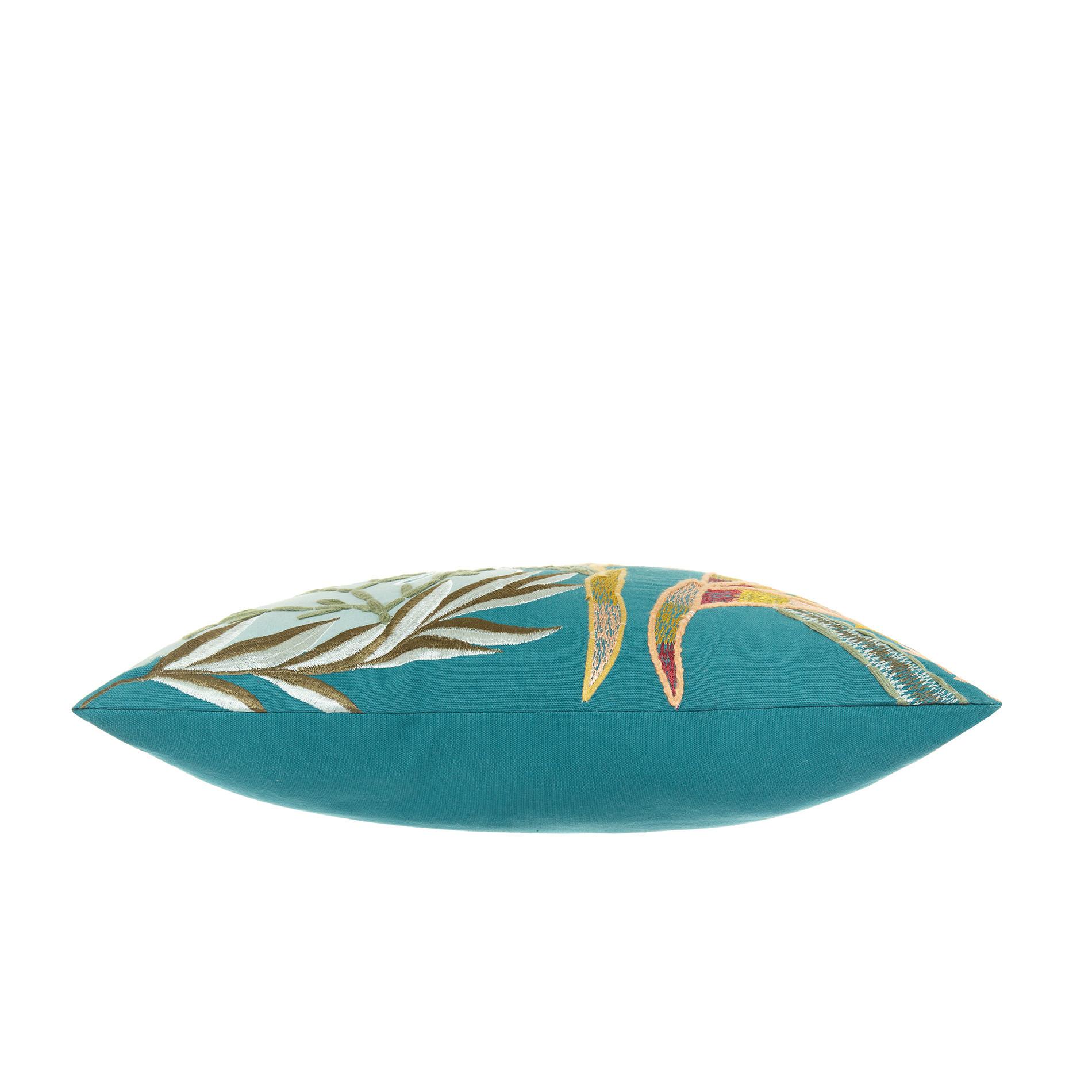 Cuscino ricamo foglie 45x45cm, Verde smeraldo, large image number 2