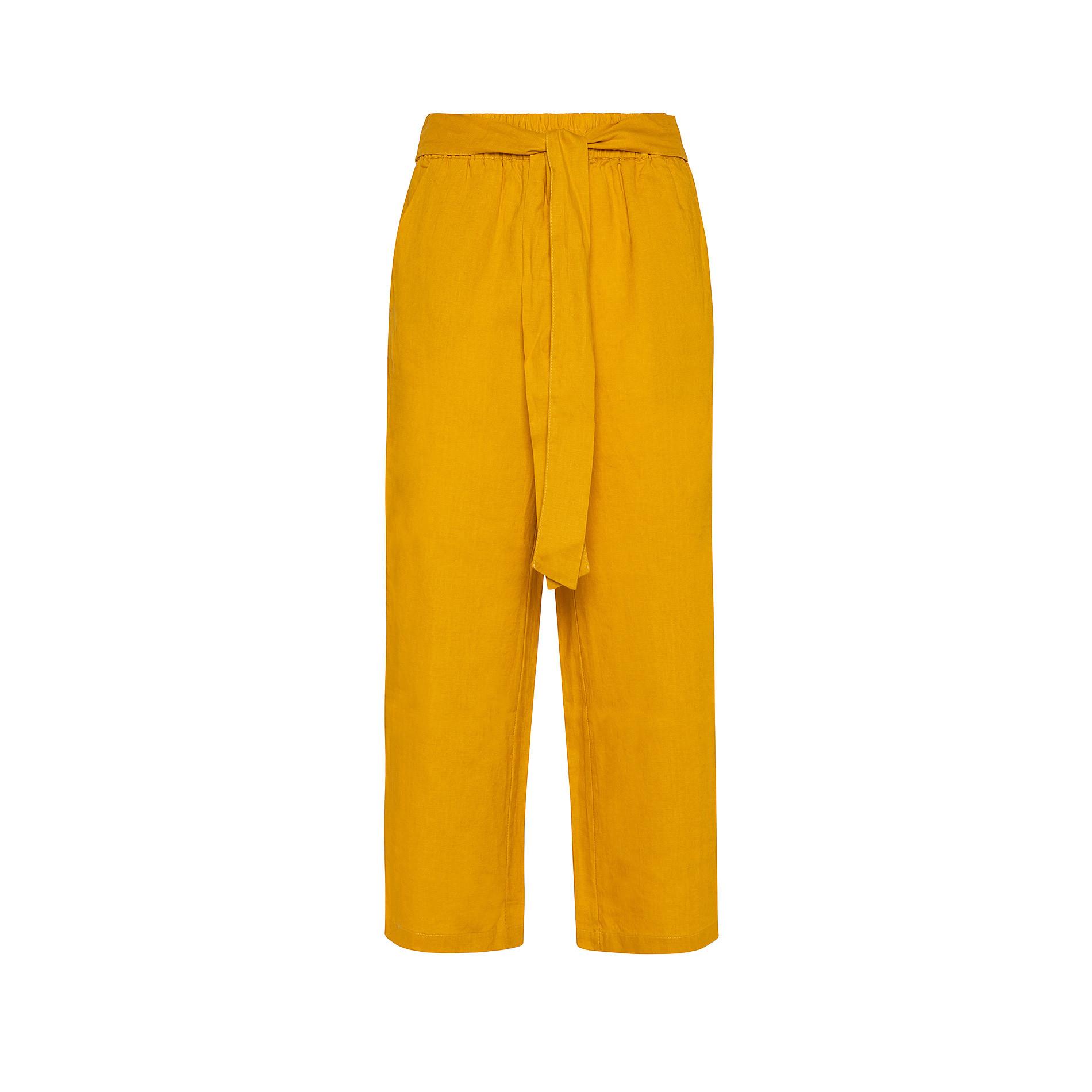 Pantalone puro lino con fusciacca Koan, Arancione, large image number 0