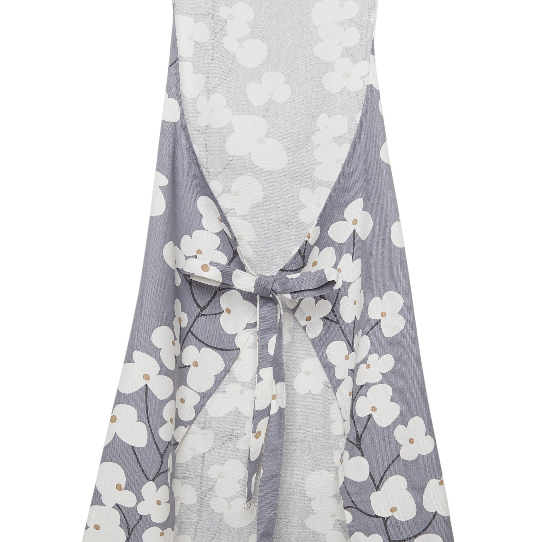 Grembiule da cucina cotone stampa fiori, Bianco/Blu, large image number 1