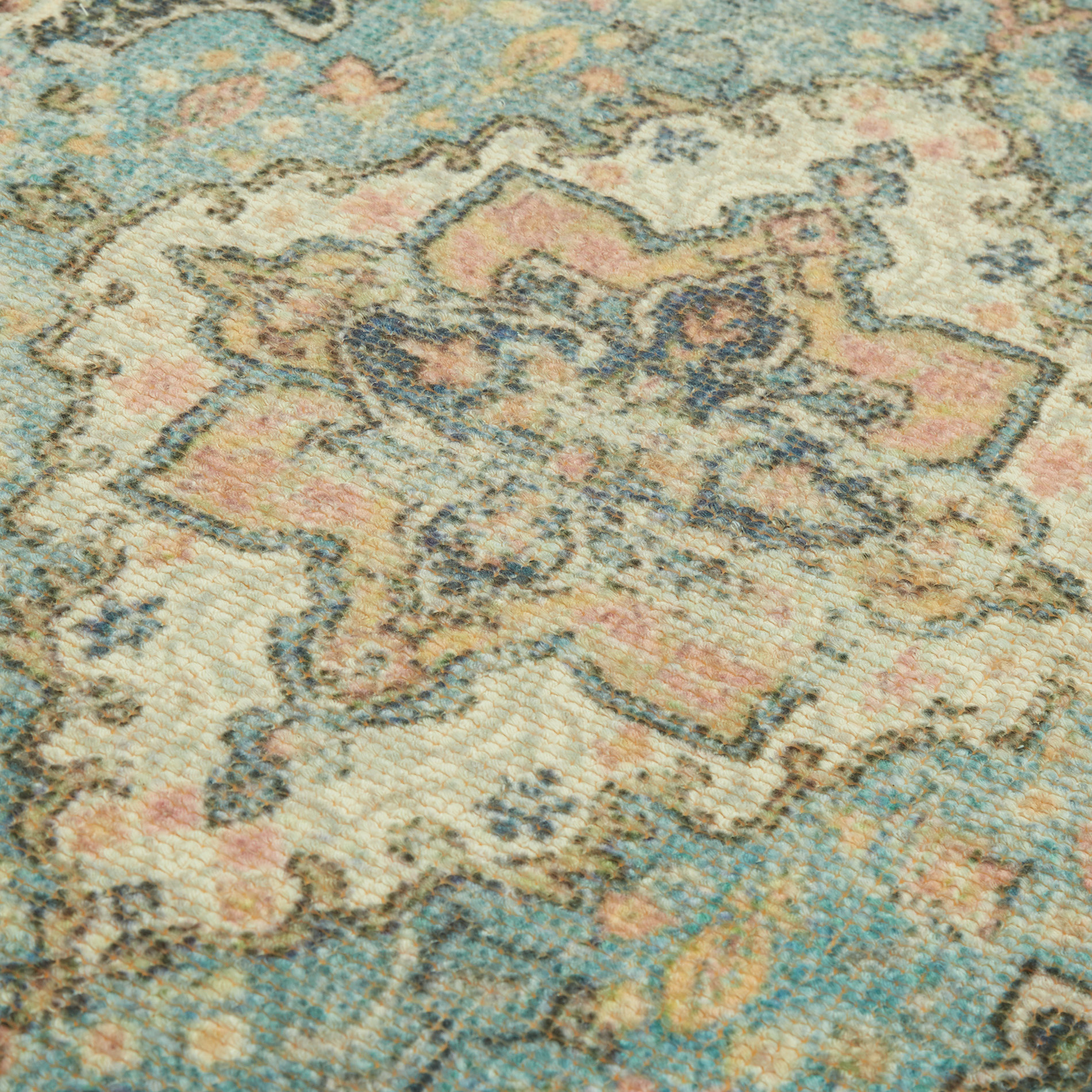 Tappeto bagno misto cotone effetto kilim, Multicolor, large image number 1