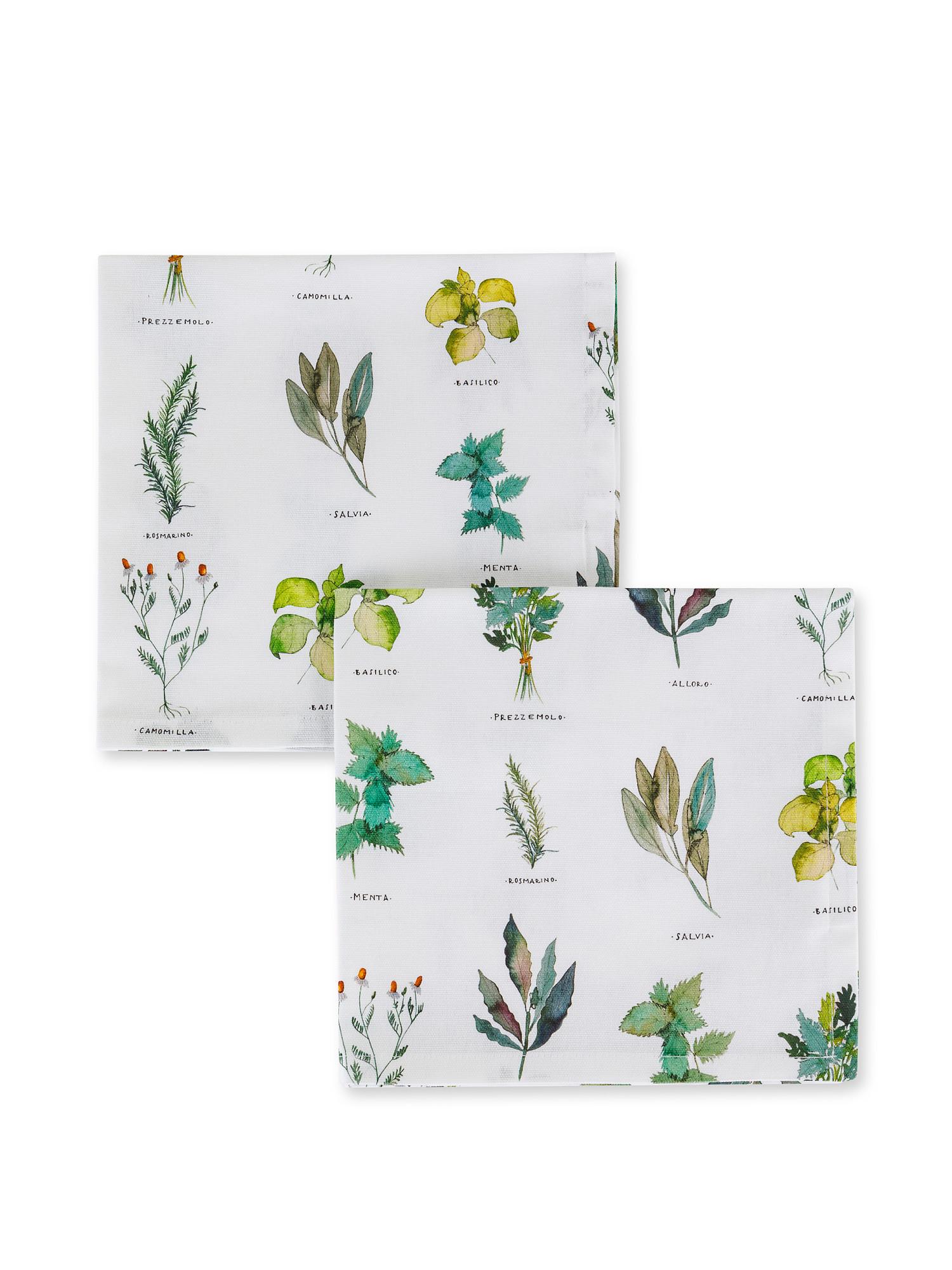 Set 2 tovaglioli puro cotone organico stampa erbe, Bianco, large image number 0