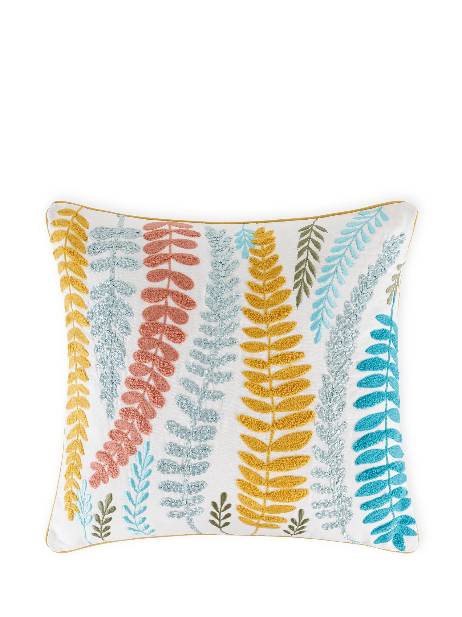 Cuscino cotone ricamo foglie 45x45cm, Multicolor, large image number 0