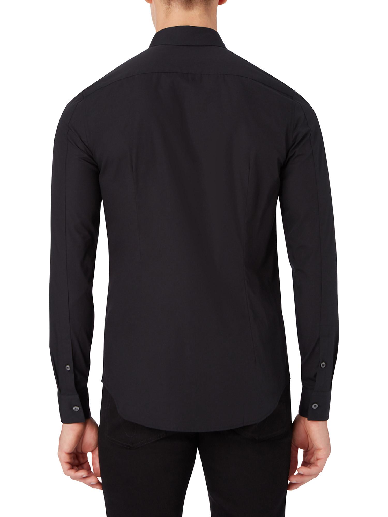 Camicia in cotone elasticizzato, Nero, large image number 5