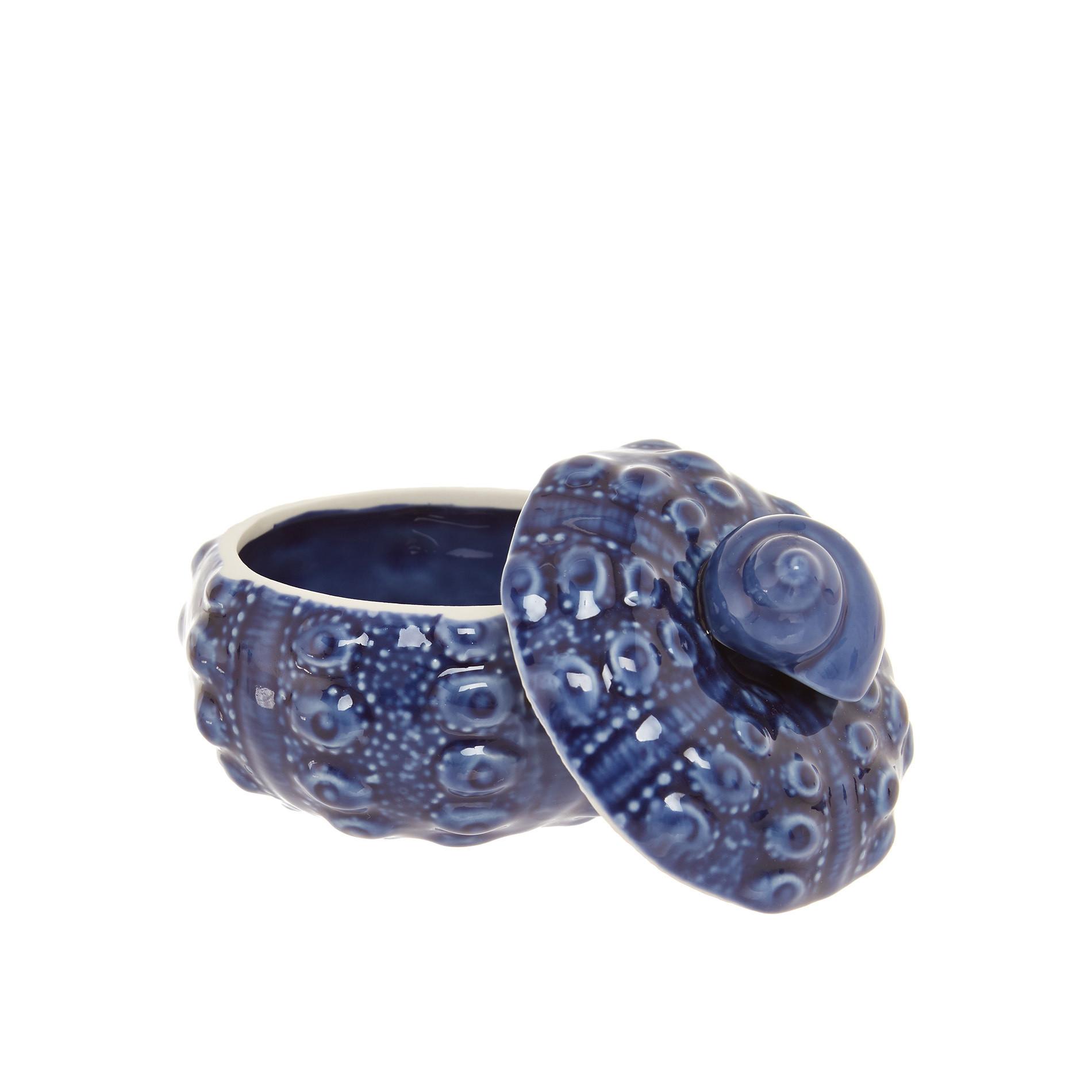 Barattolo porcellana decoro conchiglia, Blu, large image number 1