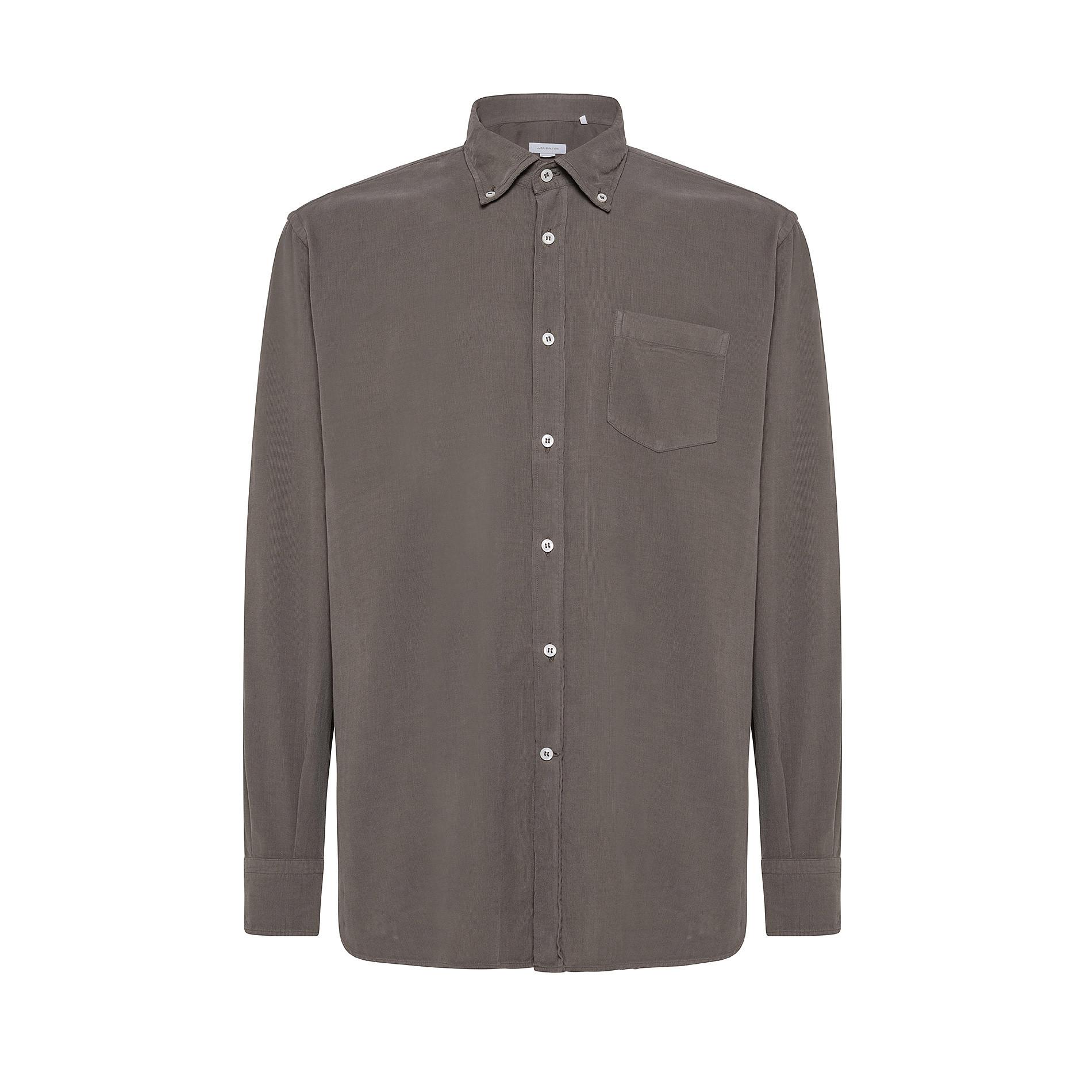 Camicia button-down regular fit in velluto, Grigio chiaro, large image number 0