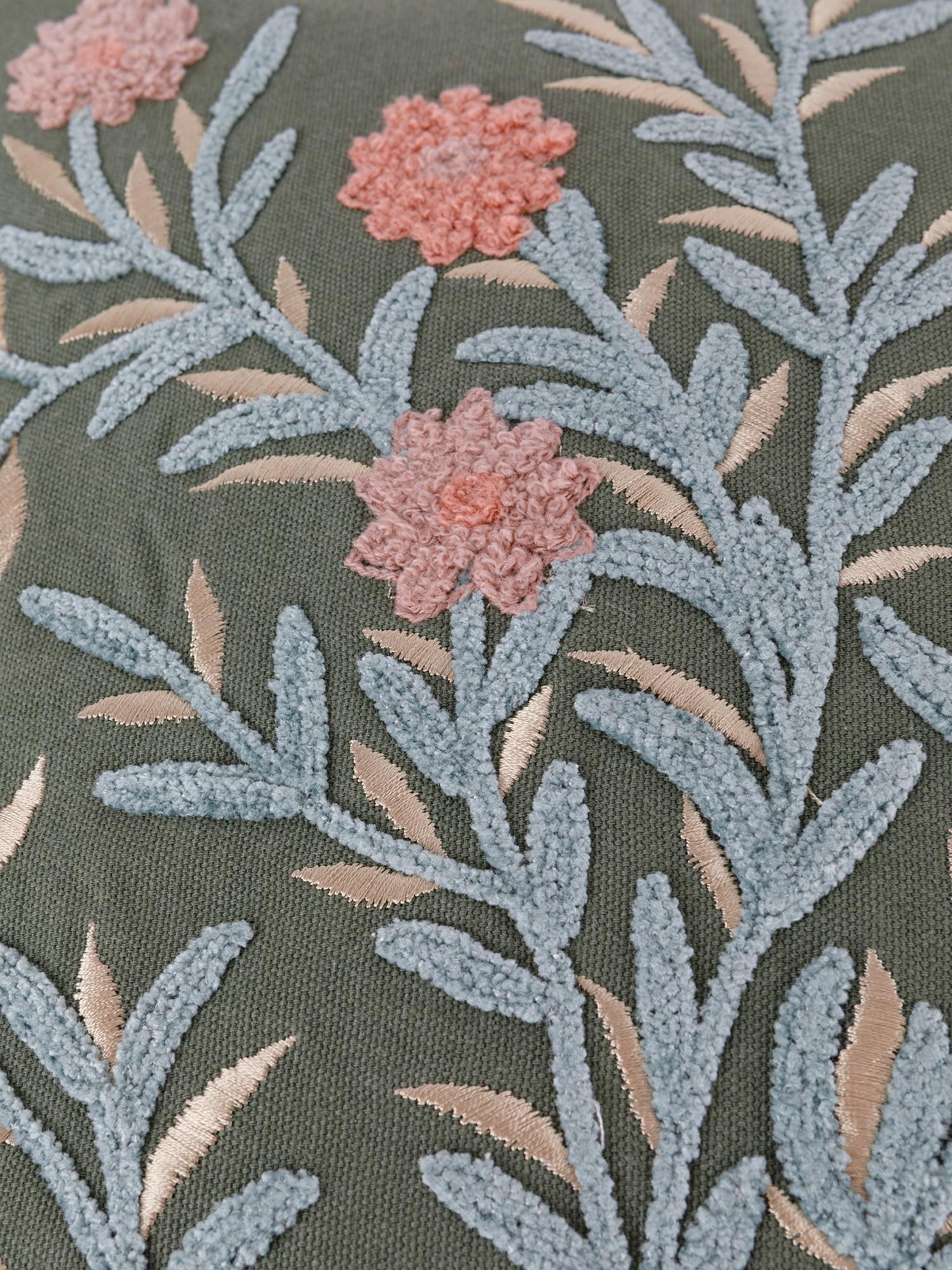 Cuscino cotone ricamo ramage 45x45cm, Multicolor, large image number 2