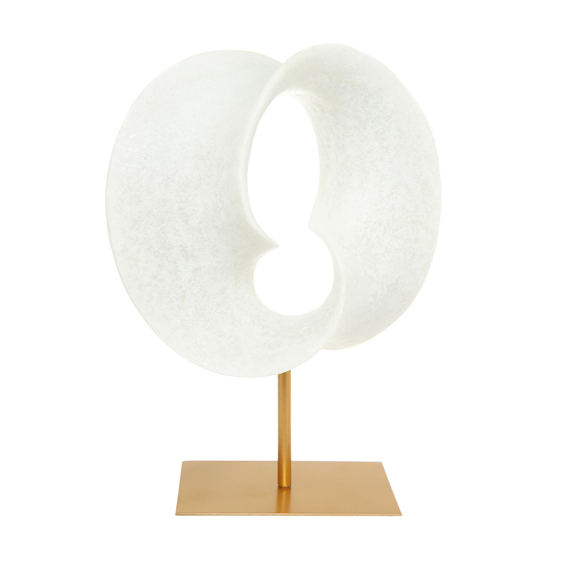Scultura astratta su stand rifinita a mano, Bianco, large image number 0