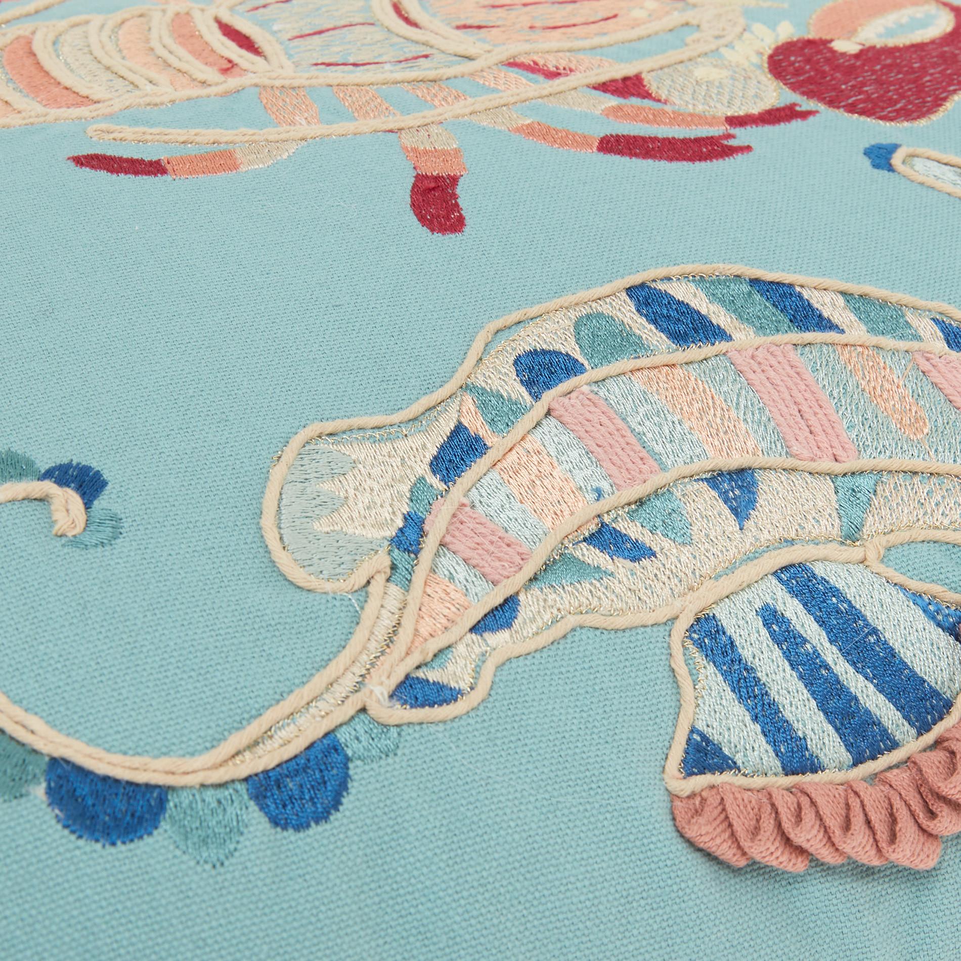 Cuscino ricamo animali marini 45x45cm, Azzurro, large image number 3