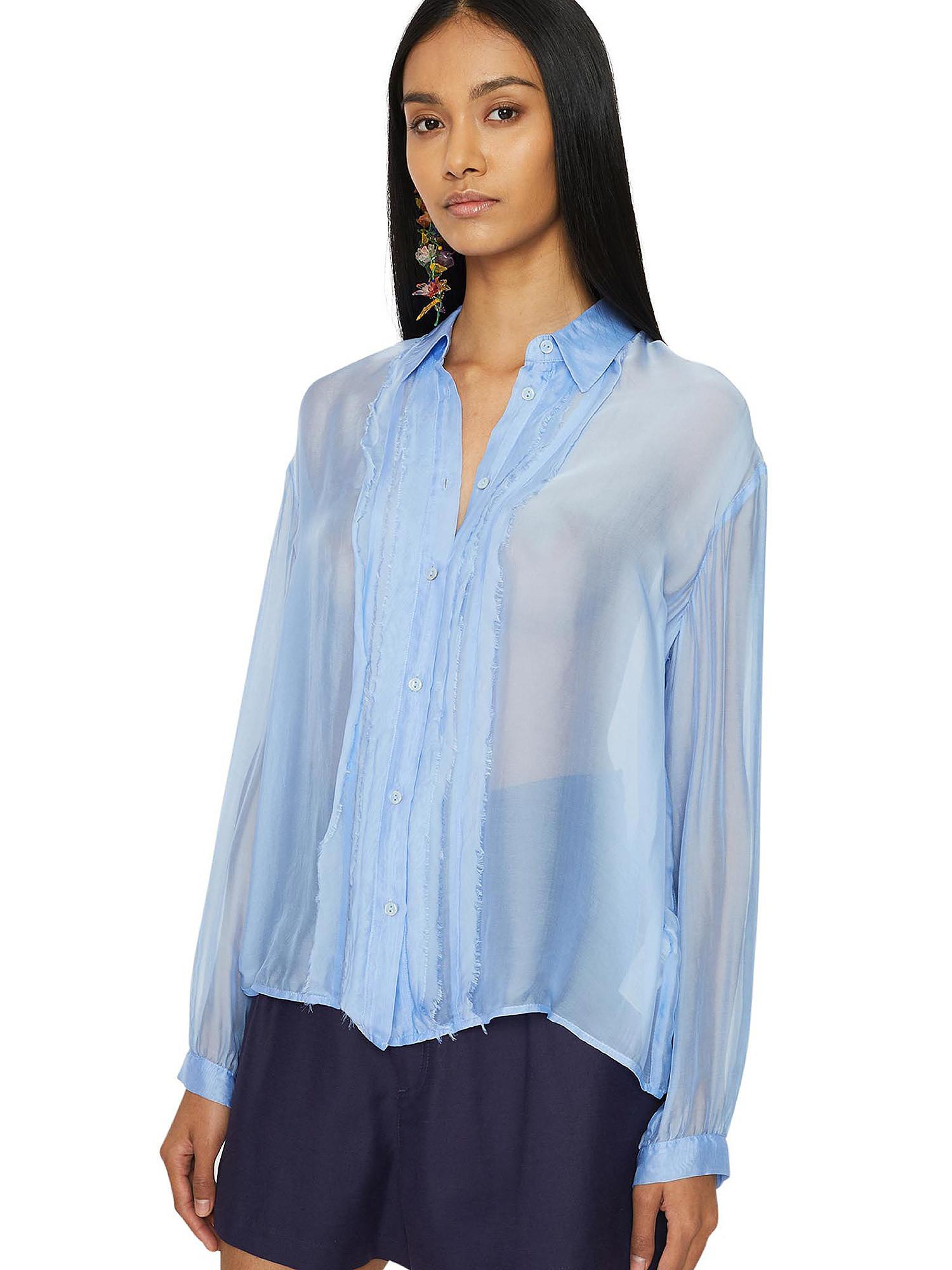 Camicia in chiffon Vanilla, Azzurro, large image number 4