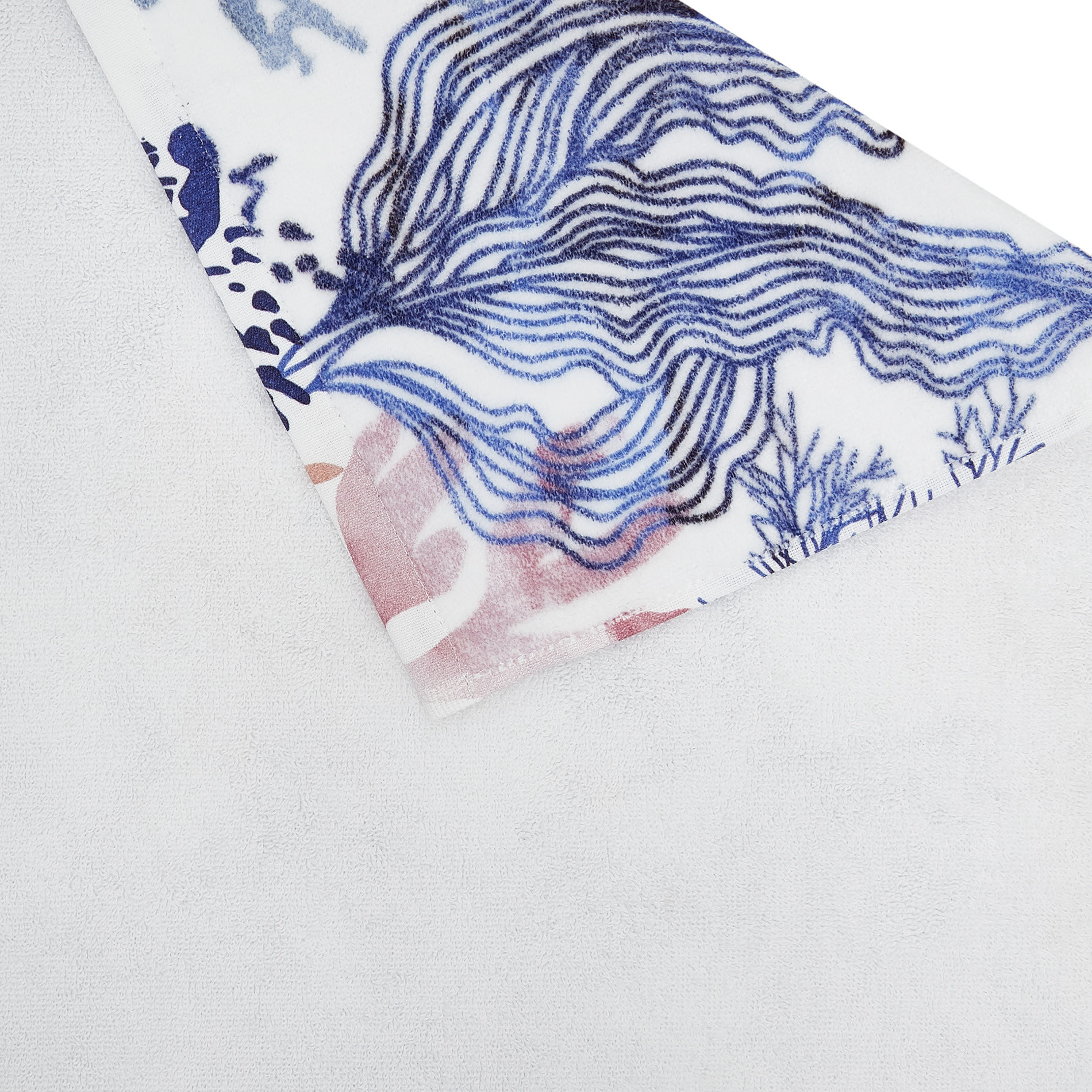 Asciugamano cotone velour stampa coralli, Bianco, large image number 2