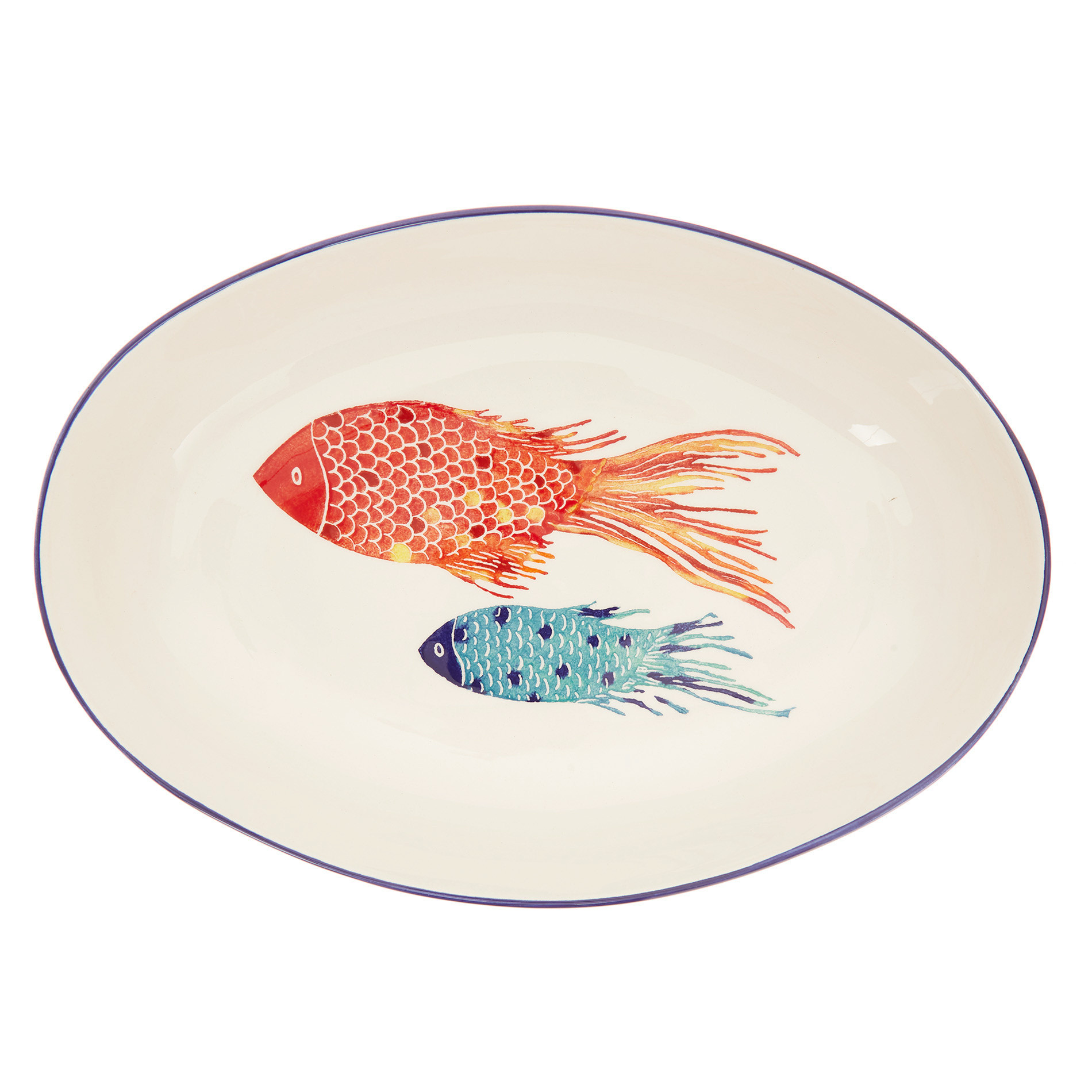 Coppa ceramica decoro pesci, Bianco/Multicolor, large image number 0