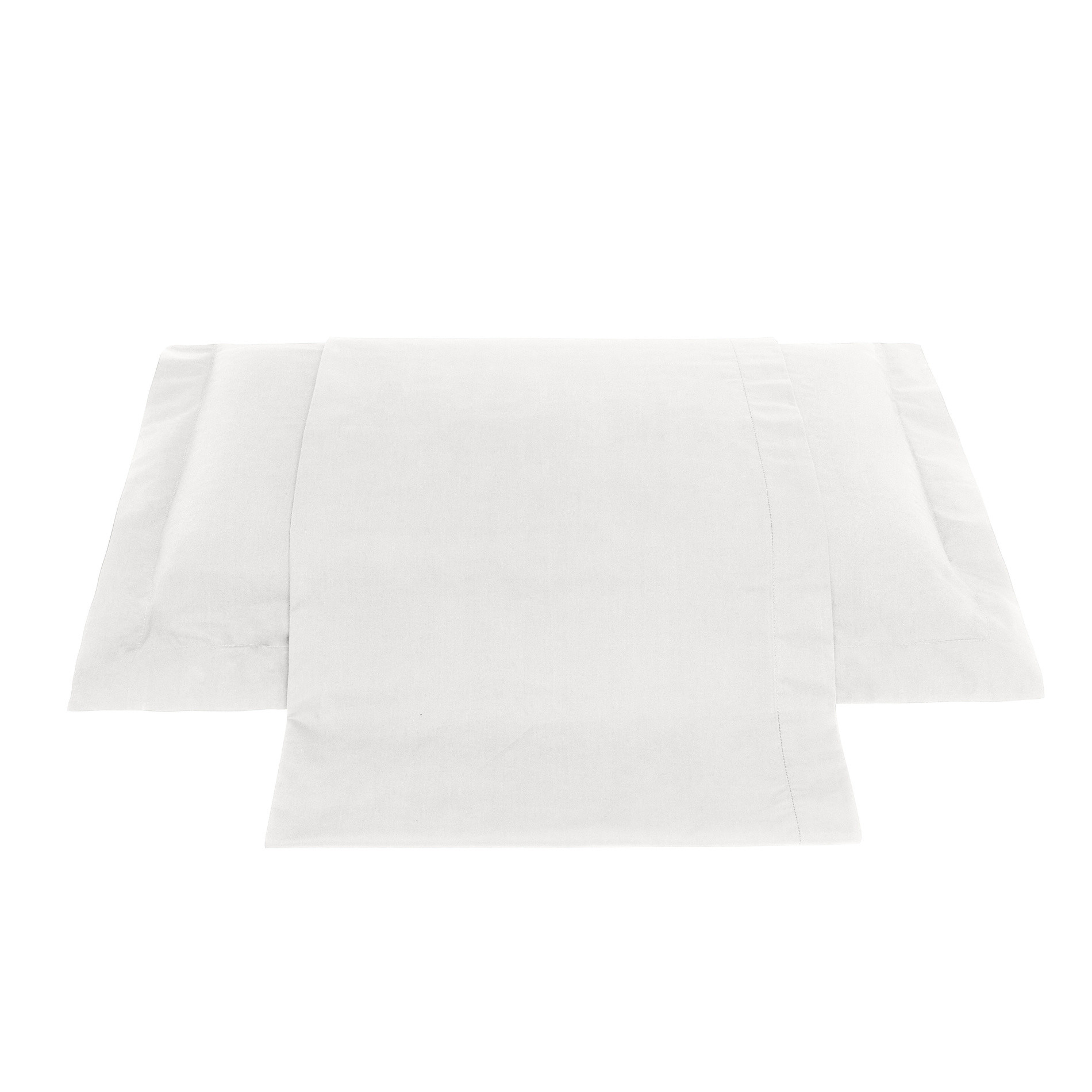 Lenzuolo liscio in percalle tinta unita Zefiro, Bianco, large image number 0