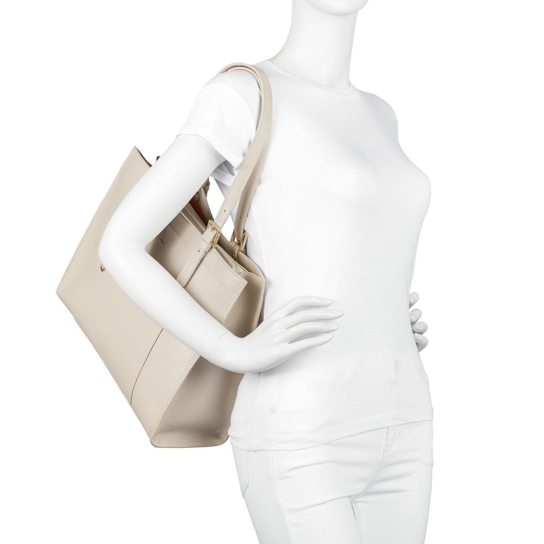 Shopper taglia grande Foulonné Double, Beige, large image number 4