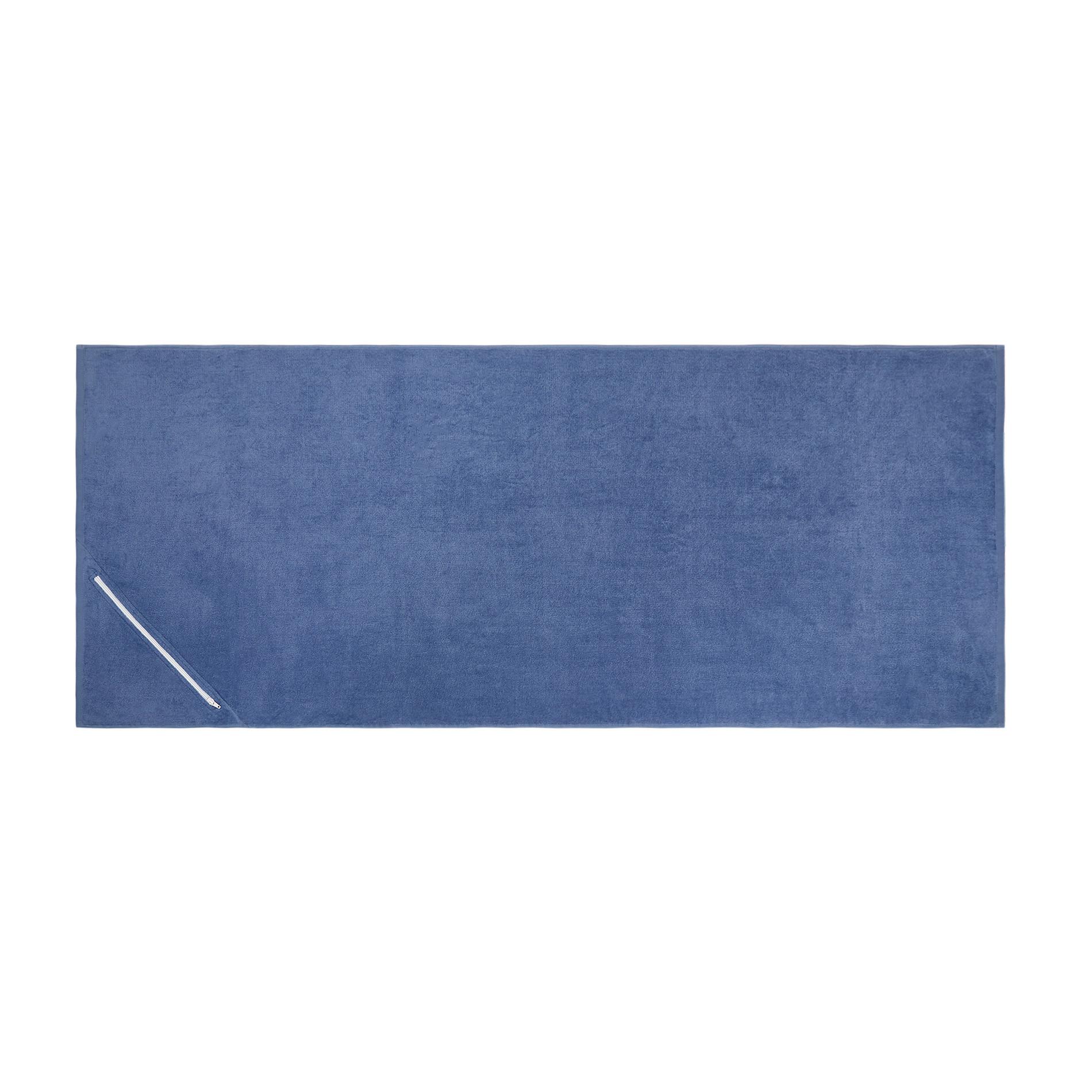 Telo mare in spugna di cotone con tasca, Blu scuro, large image number 0