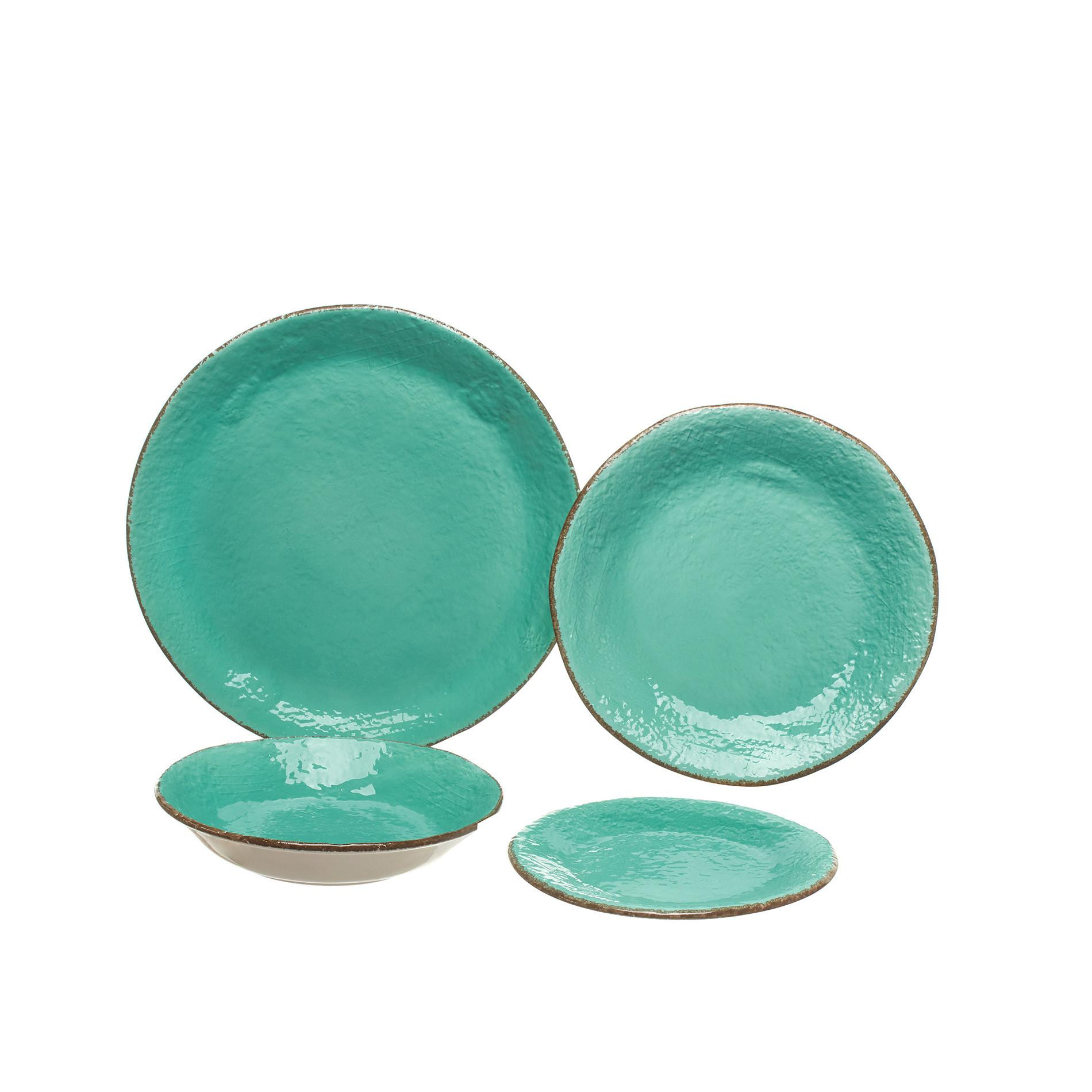 Piatto piano ceramica artigianale Preta, Verde acqua, large image number 1