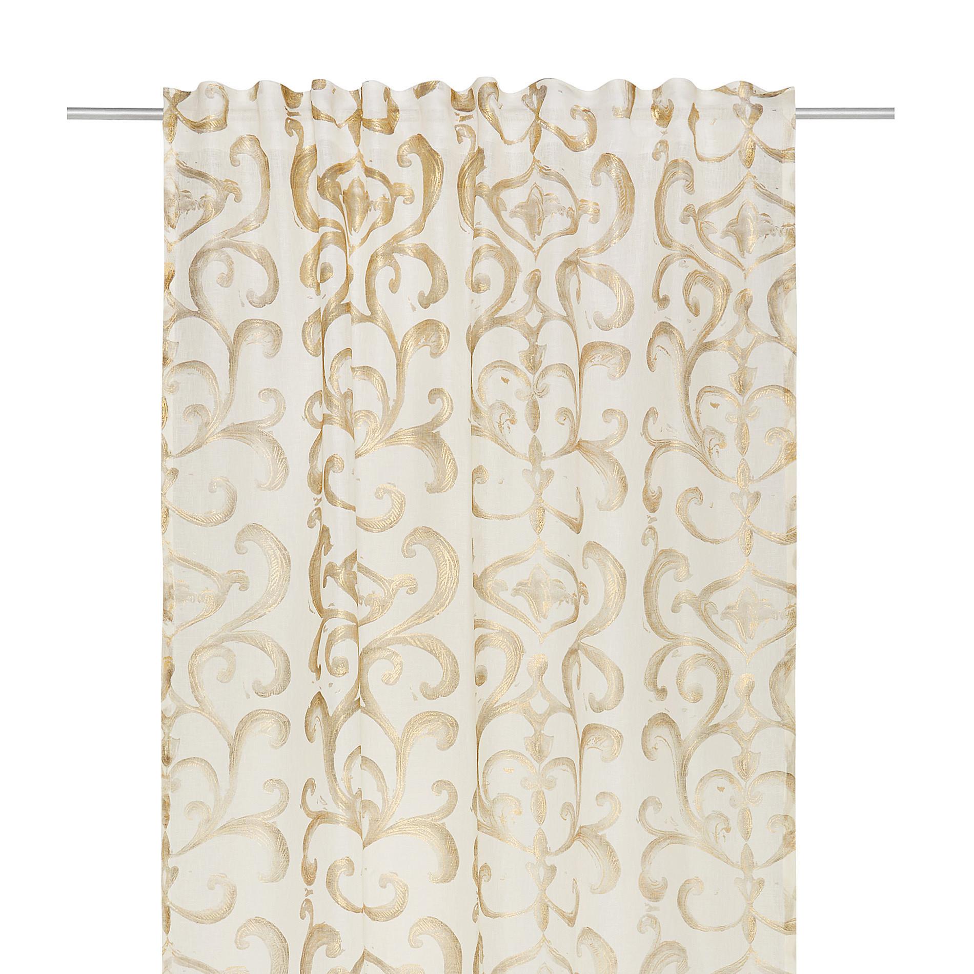 Tenda puro lino stampa devore, Bianco/Oro, large image number 2