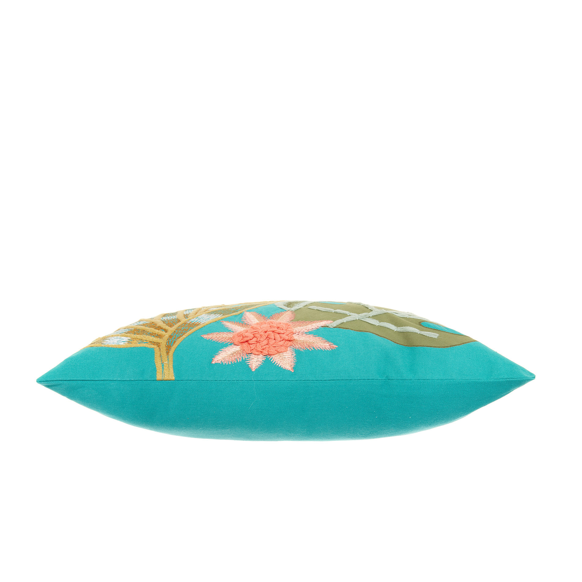 Cuscino ricamo foglie 45x45cm, Verde acqua, large image number 2