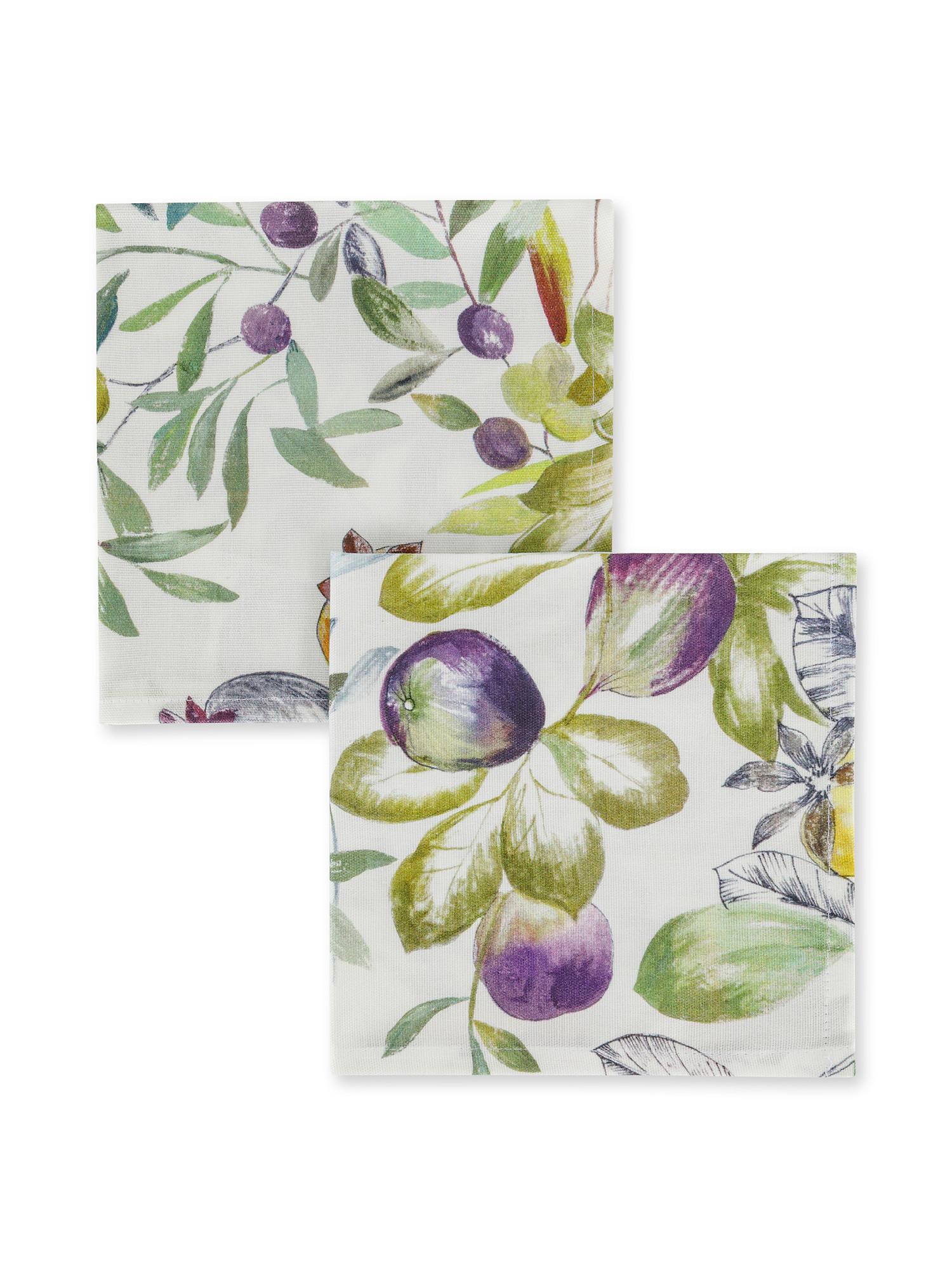 Set 2 tovaglioli puro cotone stampa serra, Grigio, large image number 0