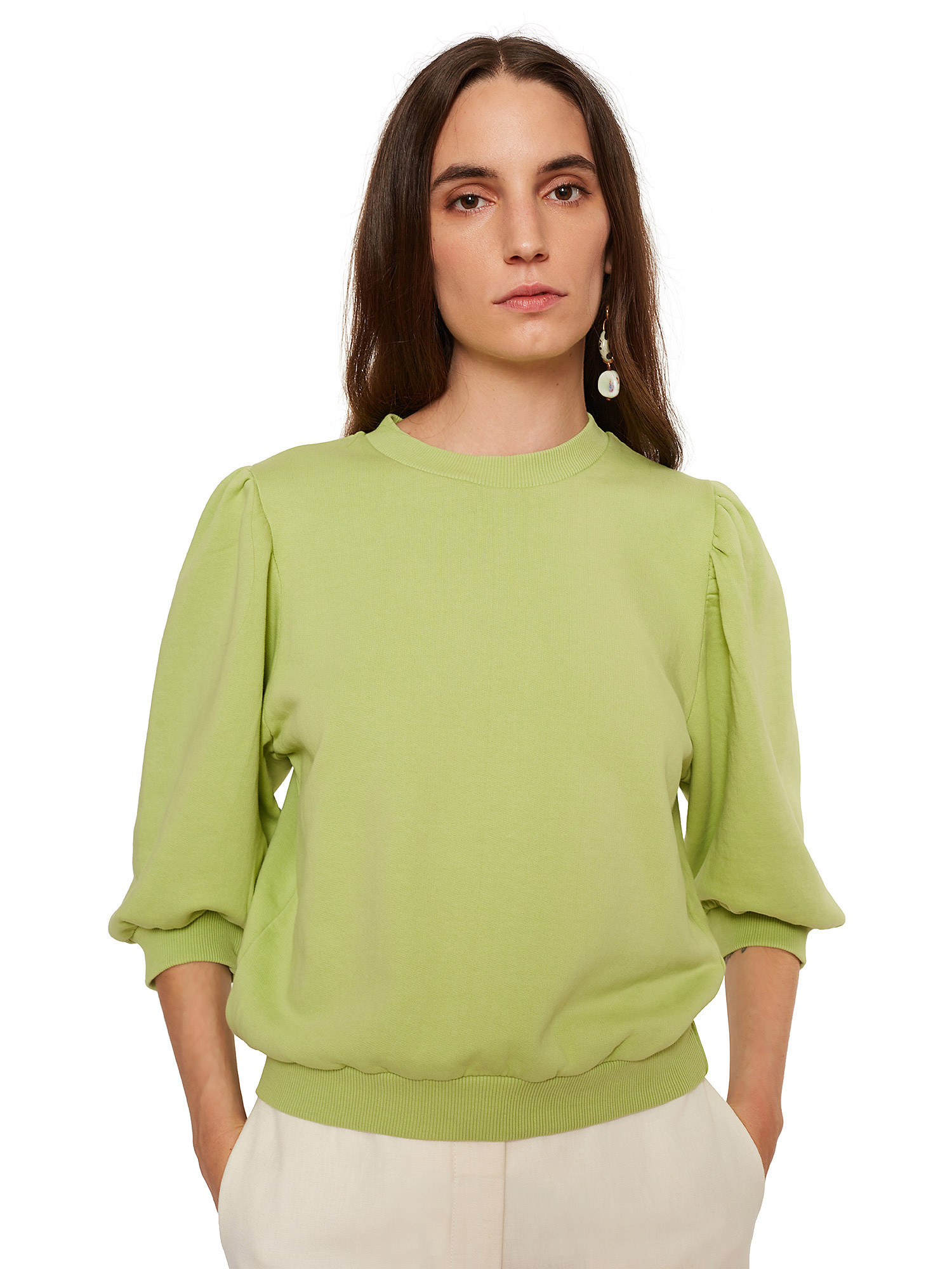 Maglia donna in cotone, Verde lime, large image number 2