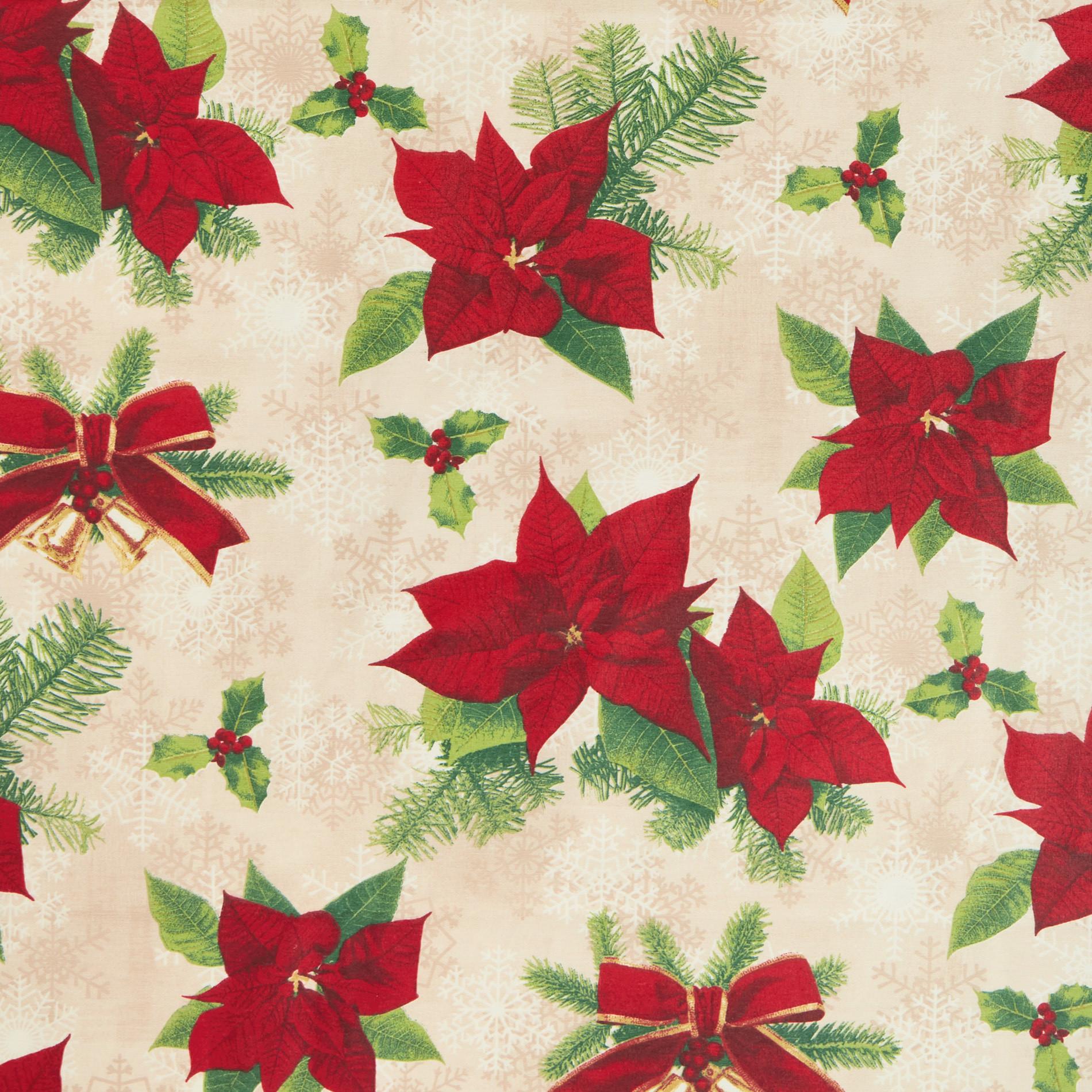 Tovaglia tessuto idrorepellente stampa natalizia, Bianco/Rosso, large image number 1