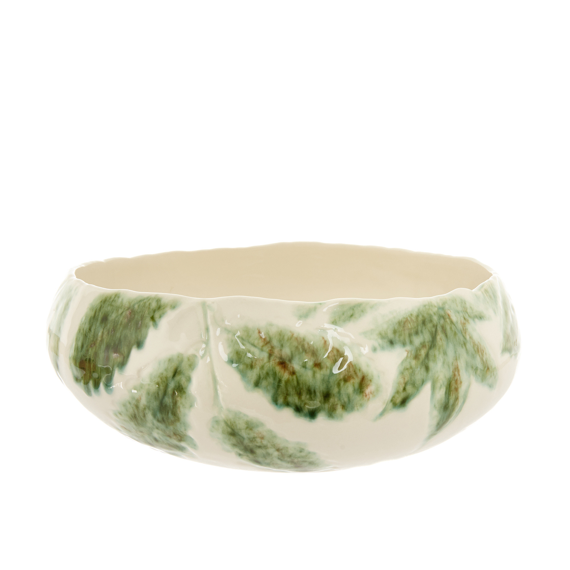 Insalatiera ceramica motivo foglie, Bianco, large image number 0