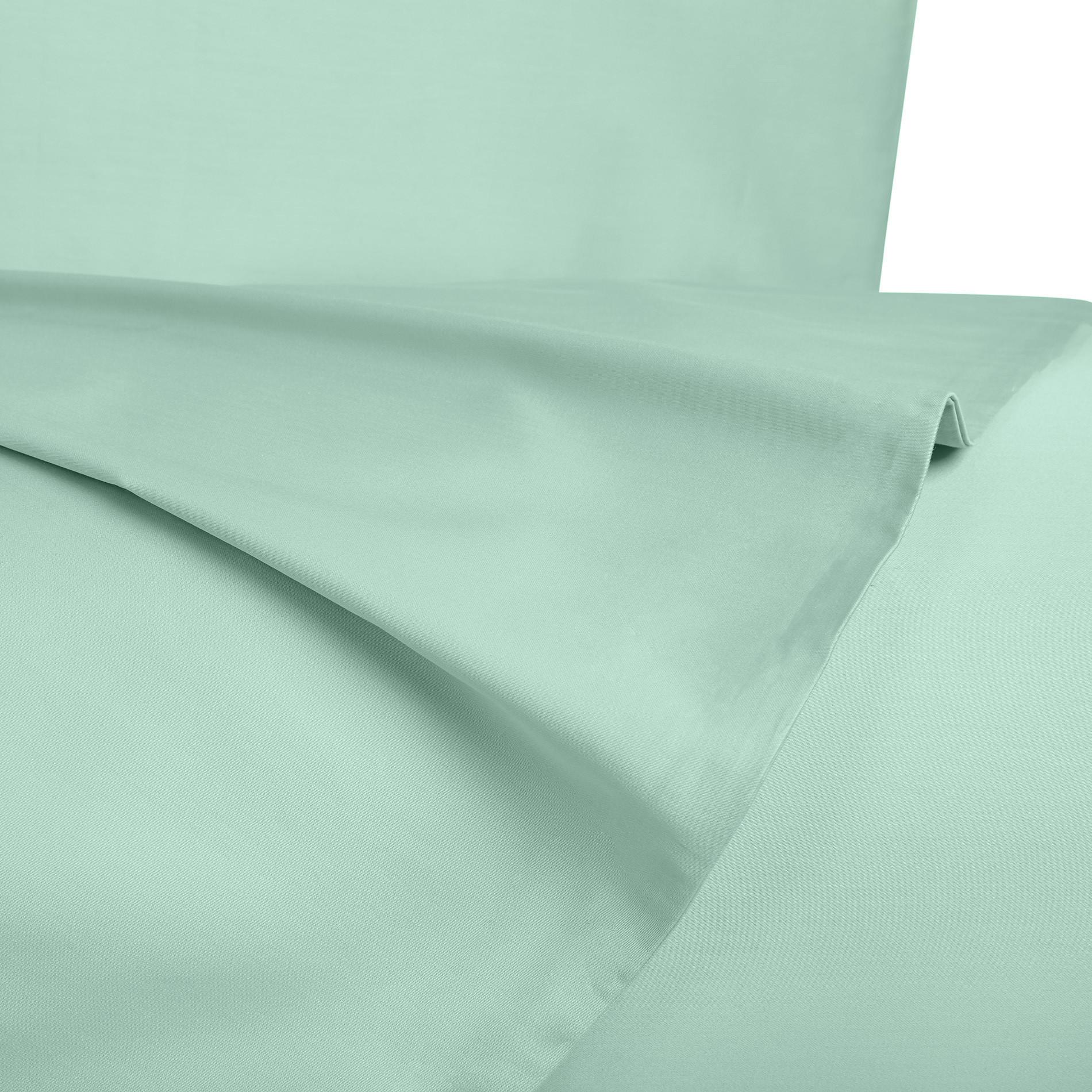 Parure copripiumino raso di puro cotone Zefiro, Verde acqua, large image number 1