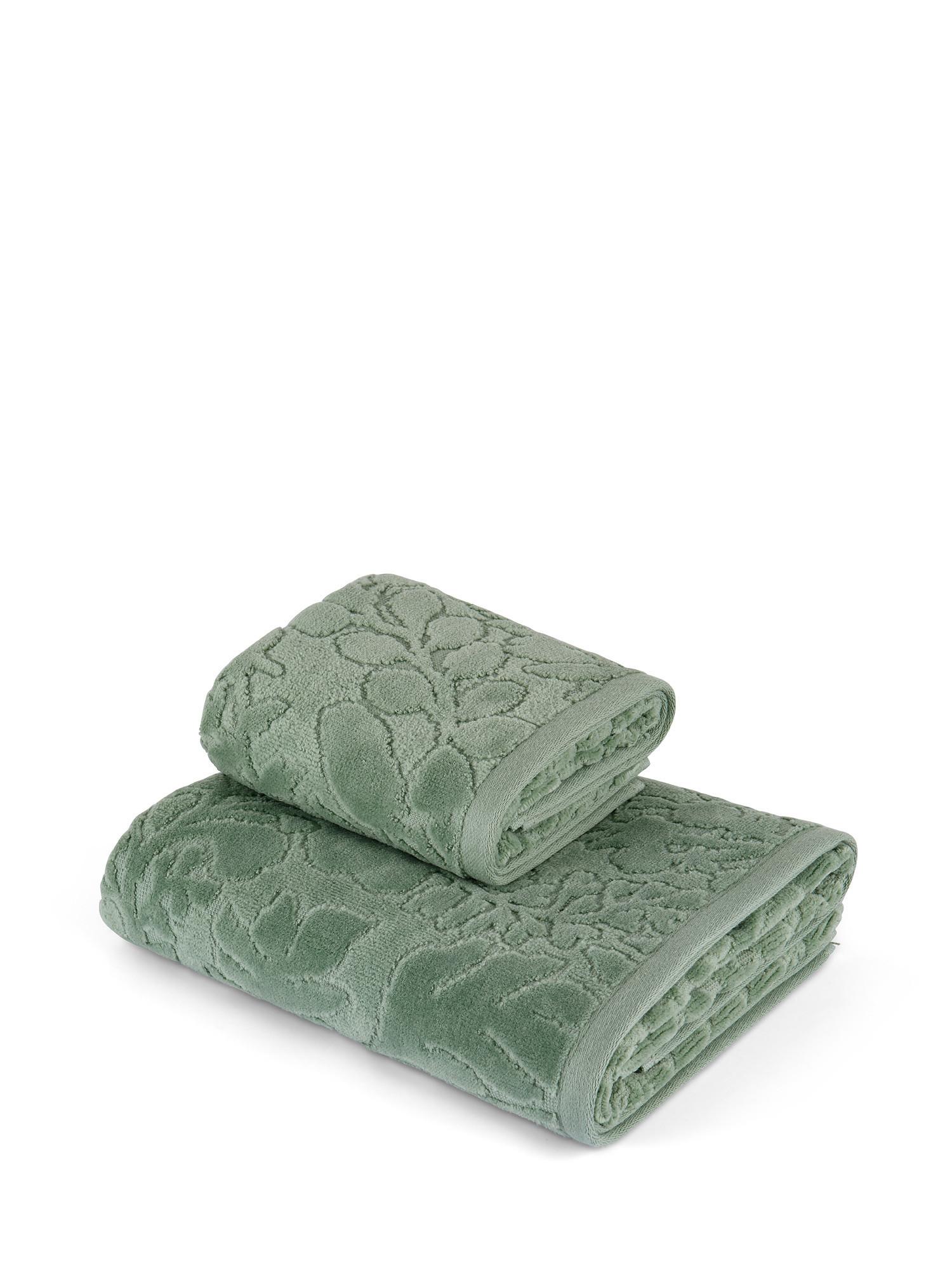 Asciugamano cotone velour tinta unita, Verde chiaro, large image number 0