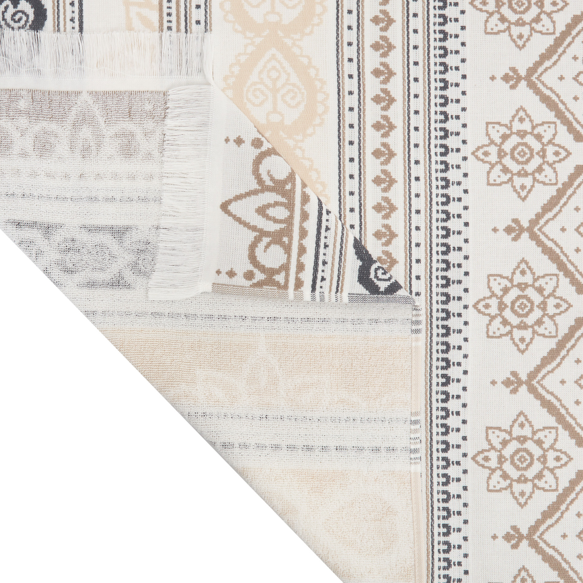 Telo mare hammam cotone jacquard disegno tecnico, Beige, large image number 1