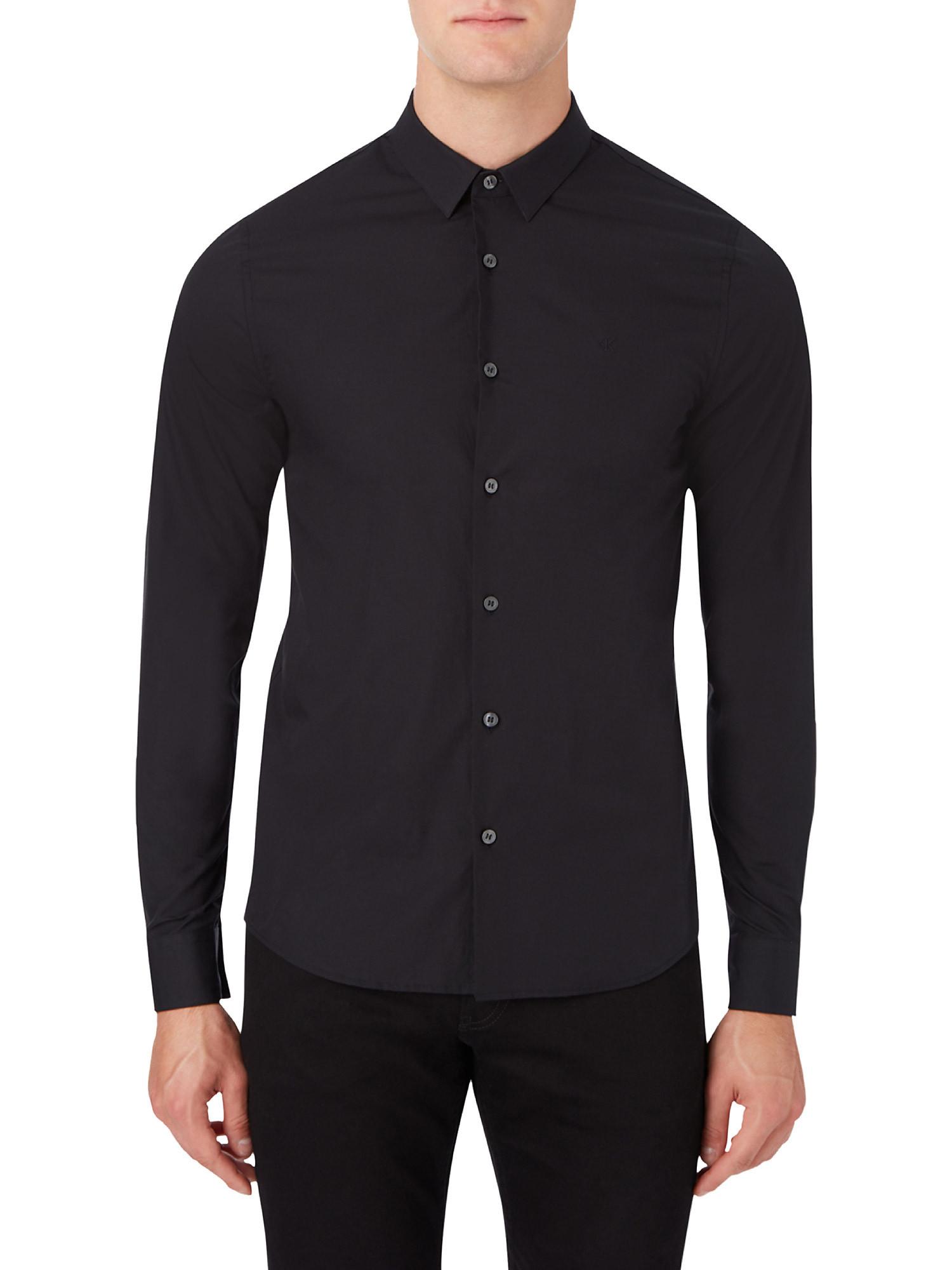 Camicia in cotone elasticizzato, Nero, large image number 4