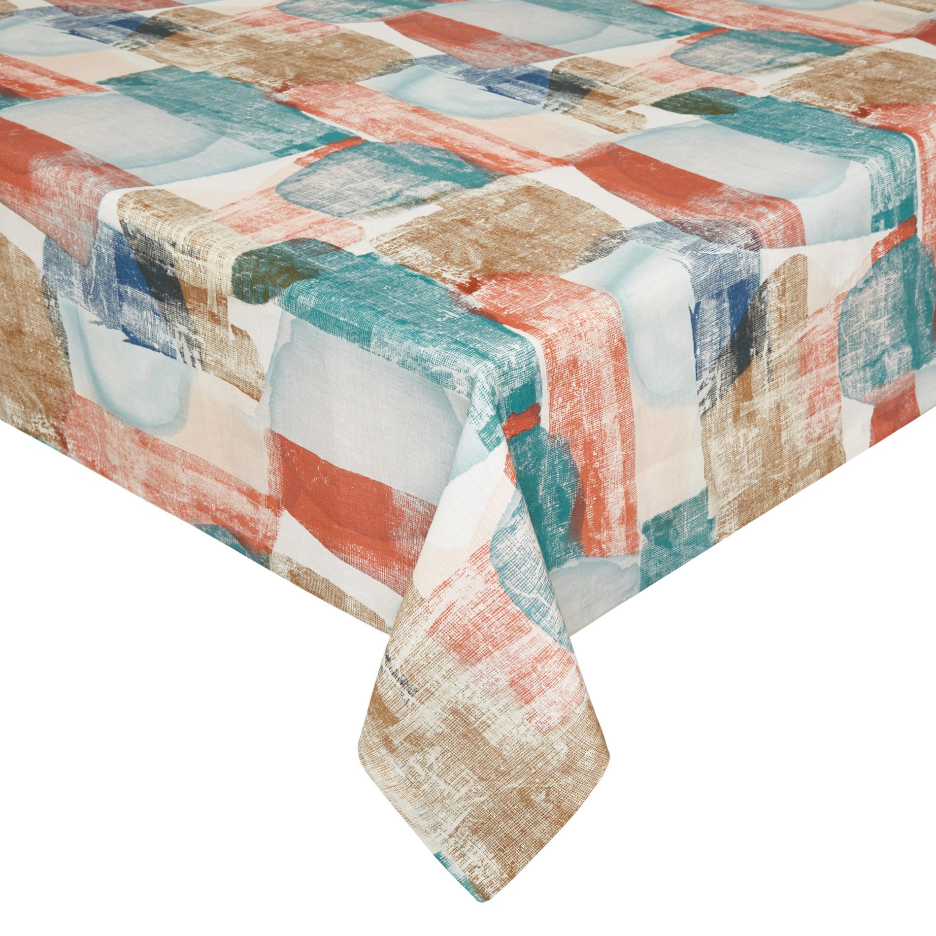 Tovaglia puro lino stampa astratta, Multicolor, large image number 0