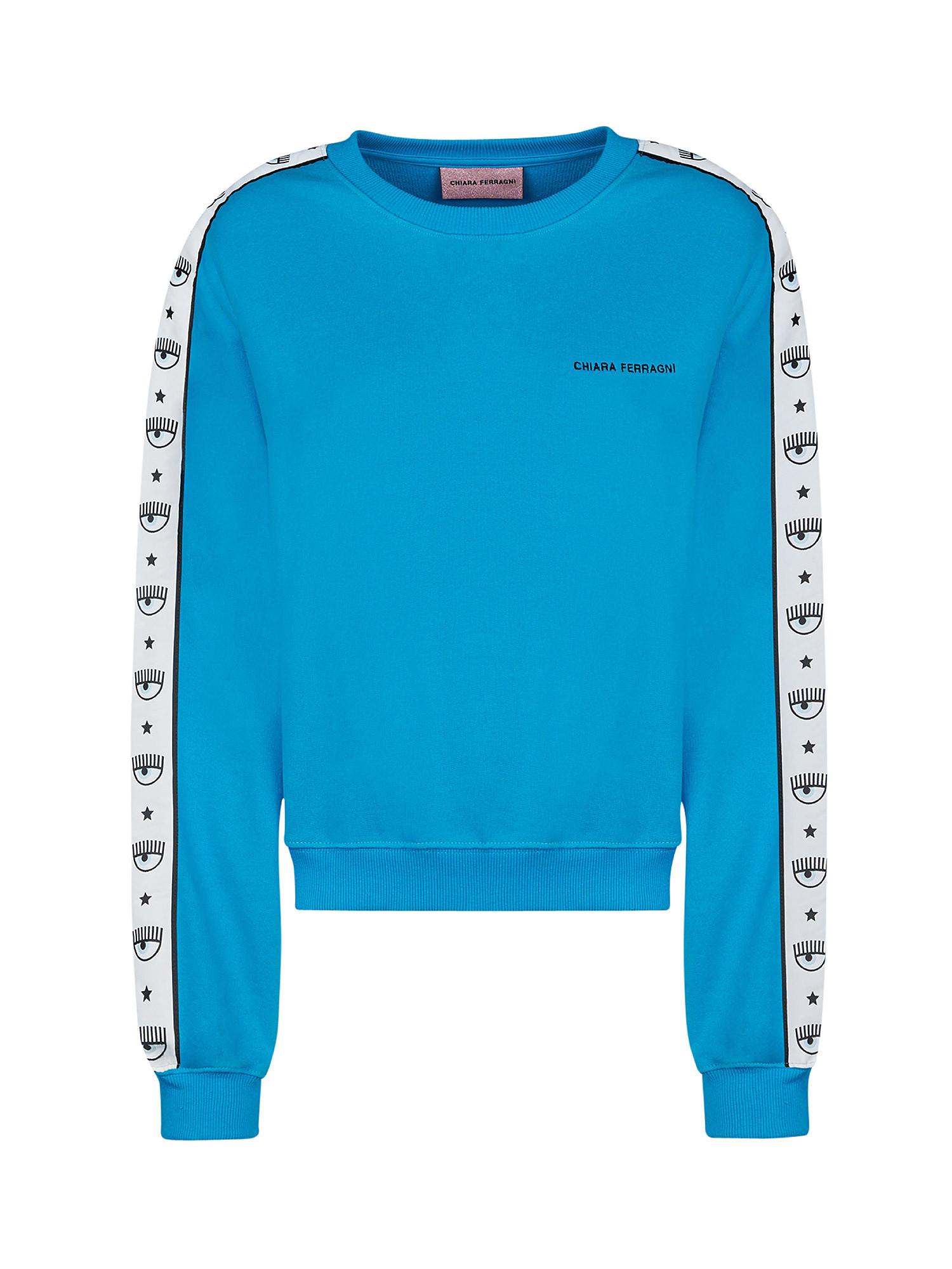 Maxi sleeve Logomania sweatshirt, Azzurro turchese, large image number 0