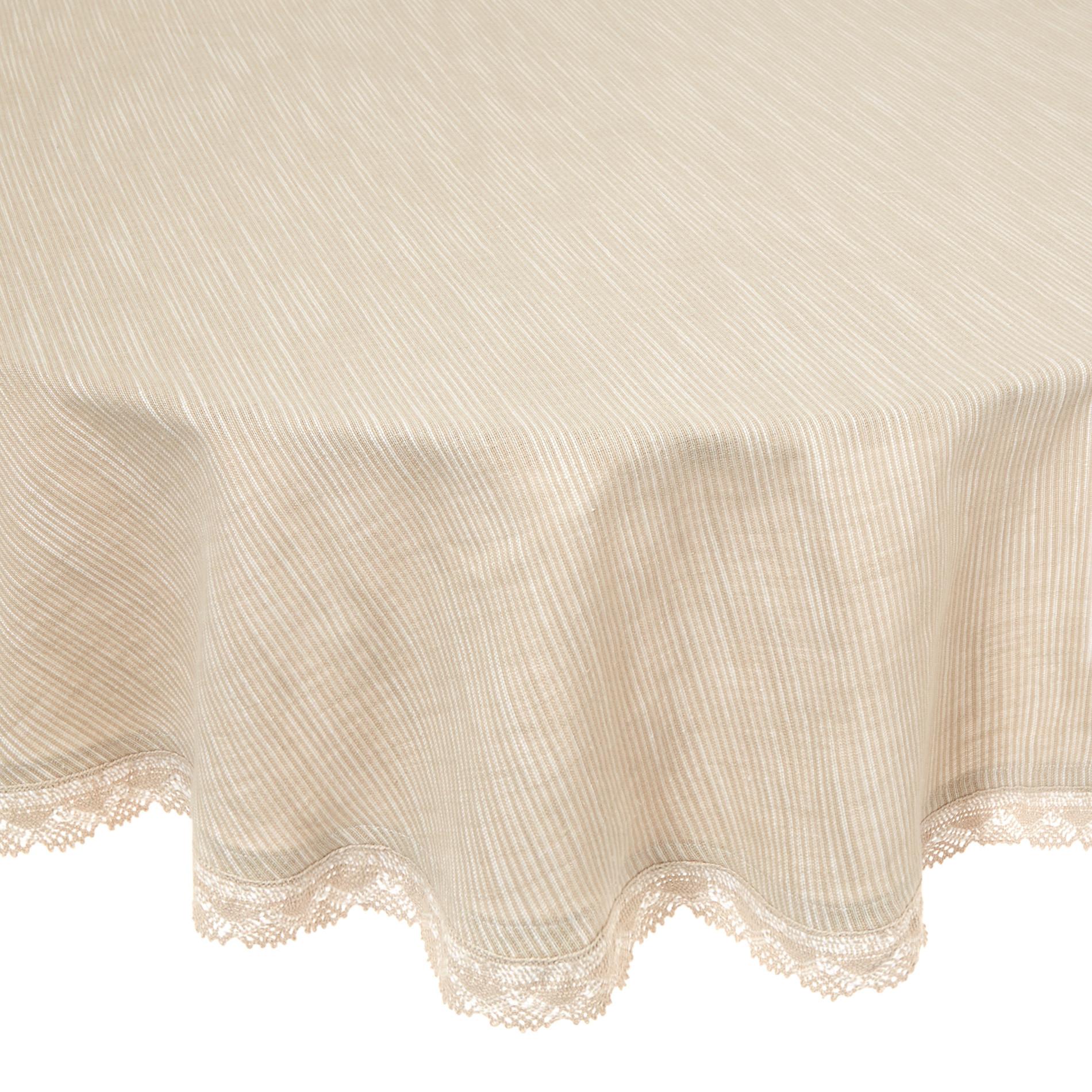 Tovaglia rotonda puro cotone fiammato bordo in pizzo, Bianco, large image number 0