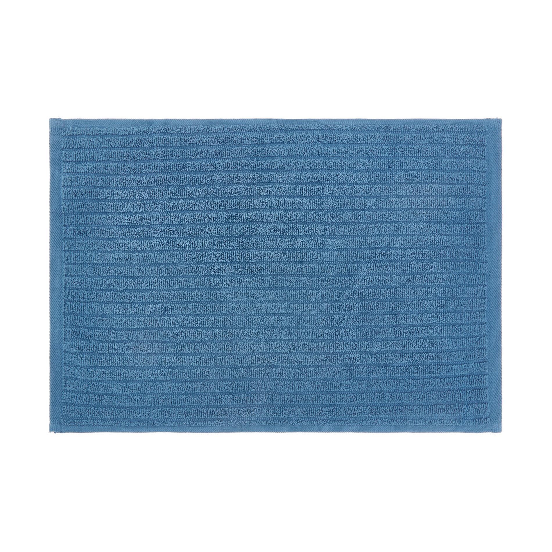 Set asciugamani puro cotone righe jacquard tinta unita, Blu, large image number 2